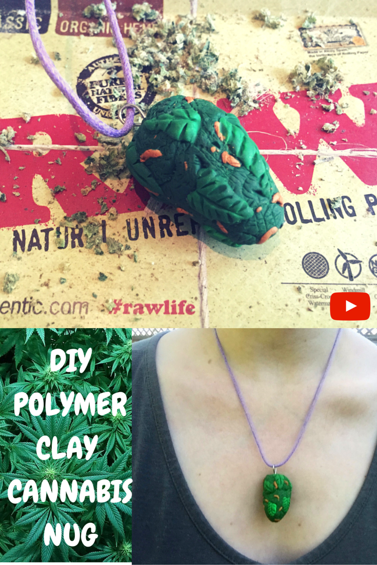 polymer clay cannabis necklace