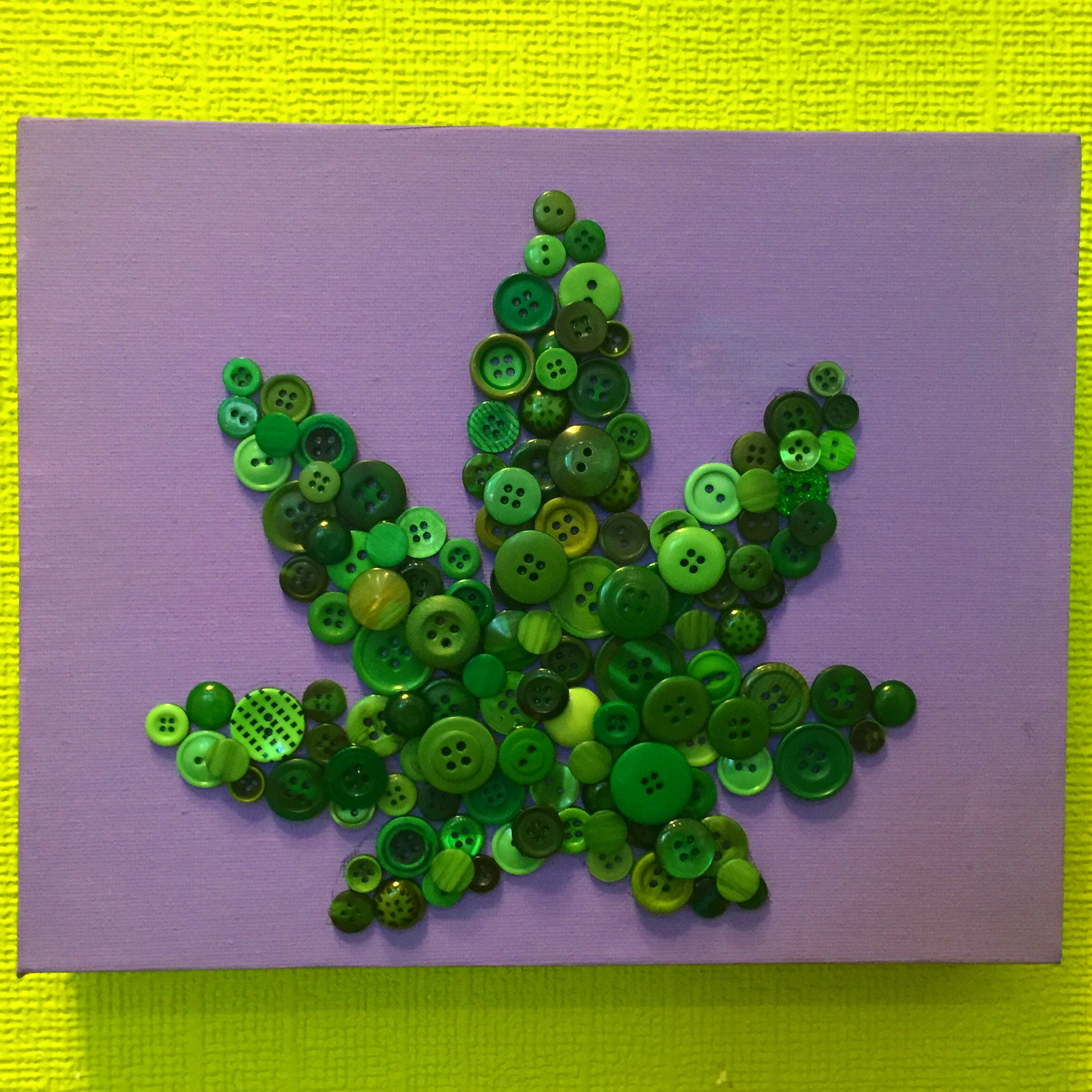 button marijuana leaf craft wall art diy stoner