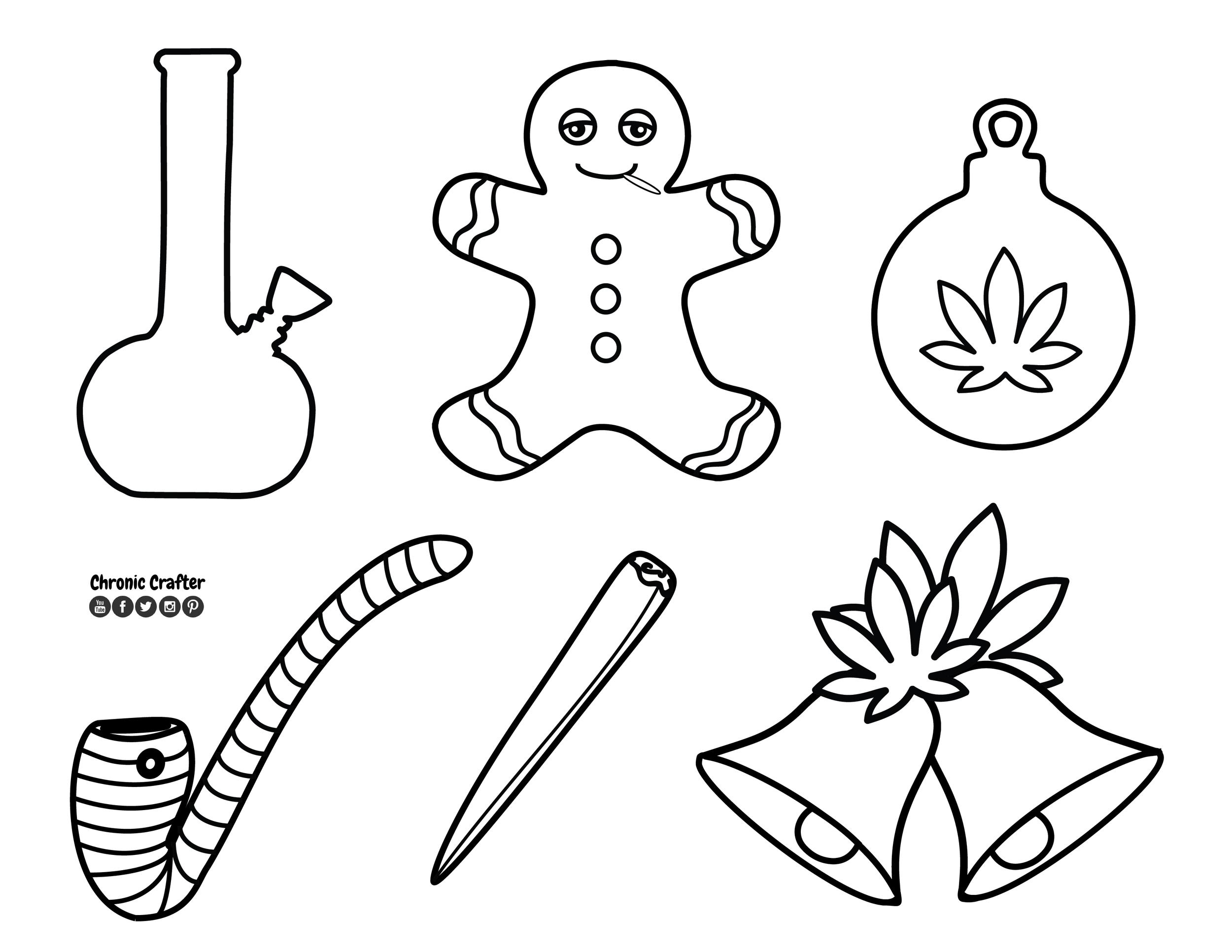 DIY Marijuana Themed Christmas (Kushmas) Ornaments Template