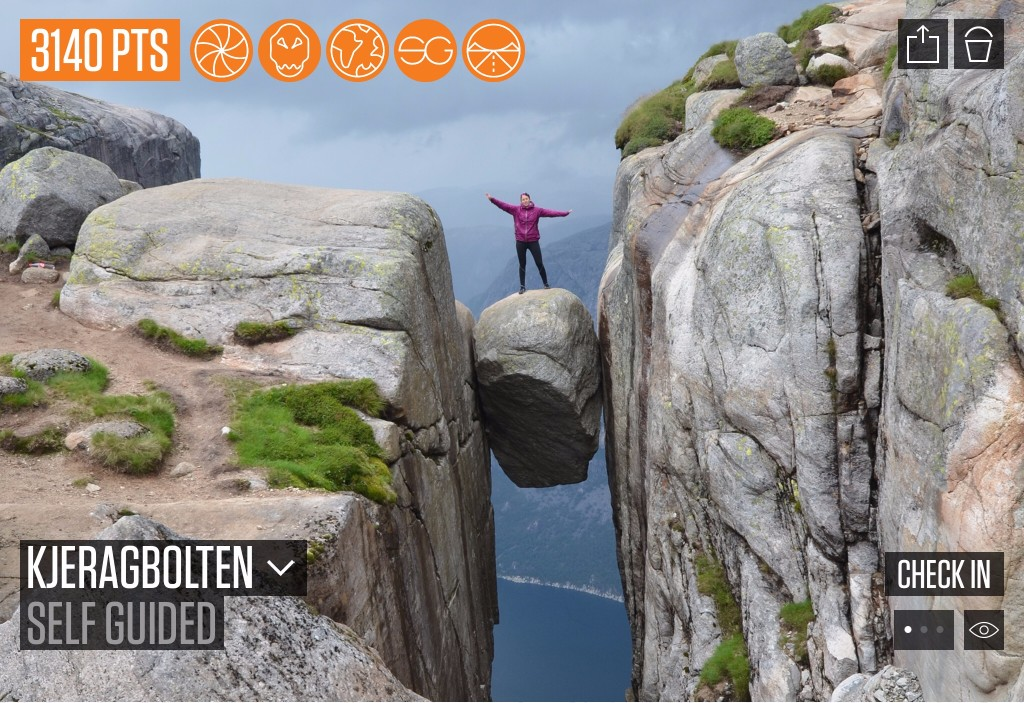 Kjeragbolten is a boulder located on the mountain Kjerag in Forsand, Norway, above the Lysefjord, and a real adrenaline rush if you dare to jump upon it. Added by Hass Herbert