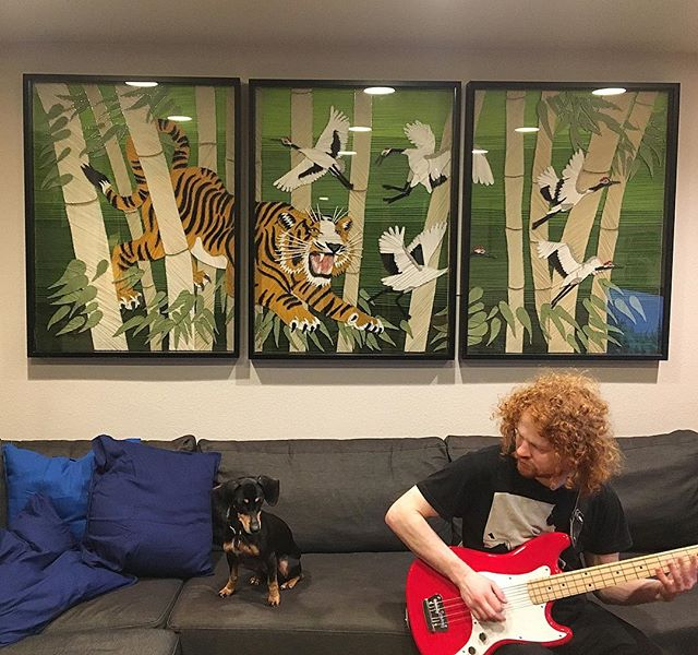 "We got a place! Hooked up the new @yarnsandnoble and @mightyactionesse headquarters with this ""Easy Tiger"" piece until the next show😎 . . . #yarnsandnoble #mightyactionesse #yarnart #seattleart #seattleartists #seattleartist #seattlemusic #seattleband #instart #art"