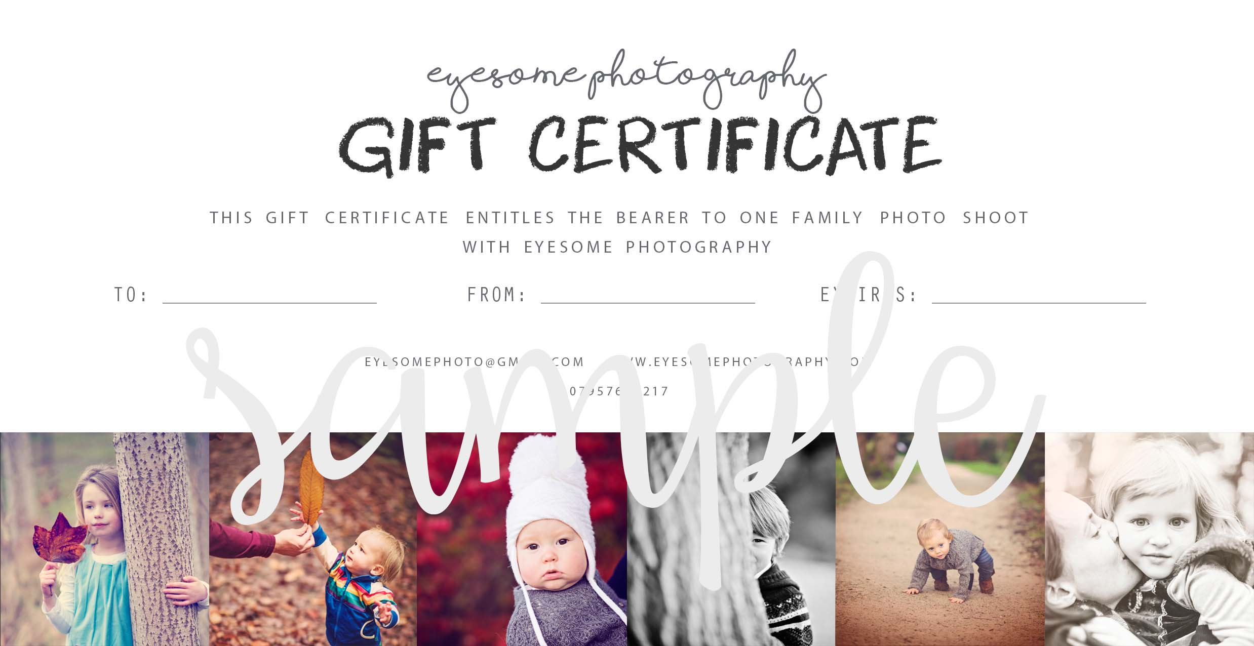 A valid gift voucher must be signed by eyesome photography.