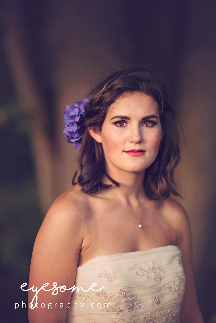 Stunning evening light and the shade of a tree brought zing to model Issy's beautiful brown eyes for this bridal portrait