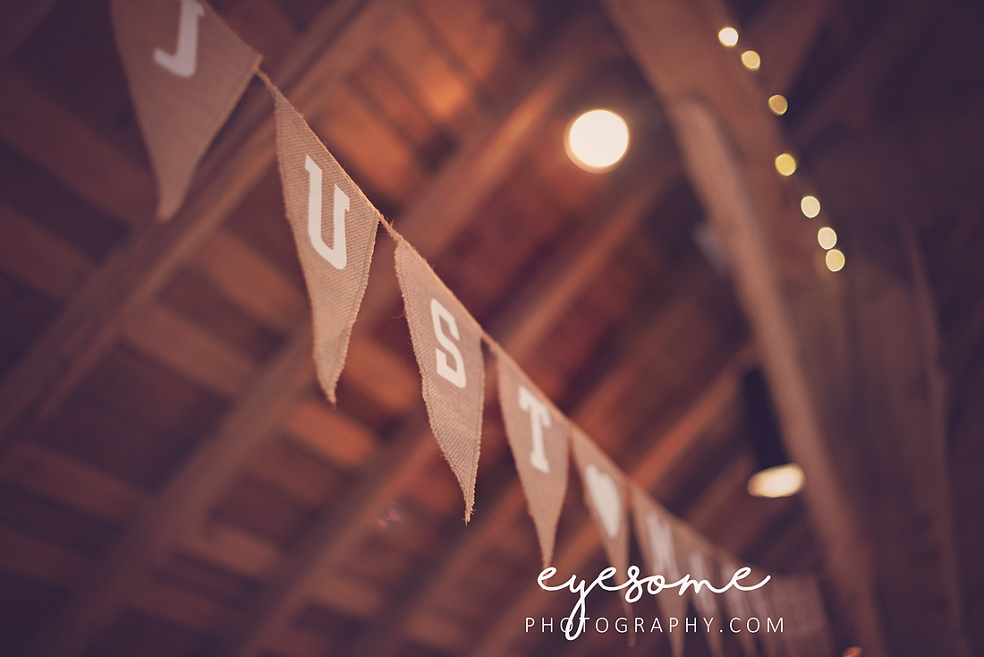 The 'just married' bunting which adorned this barn was made from hessian and string and could not have been more perfect