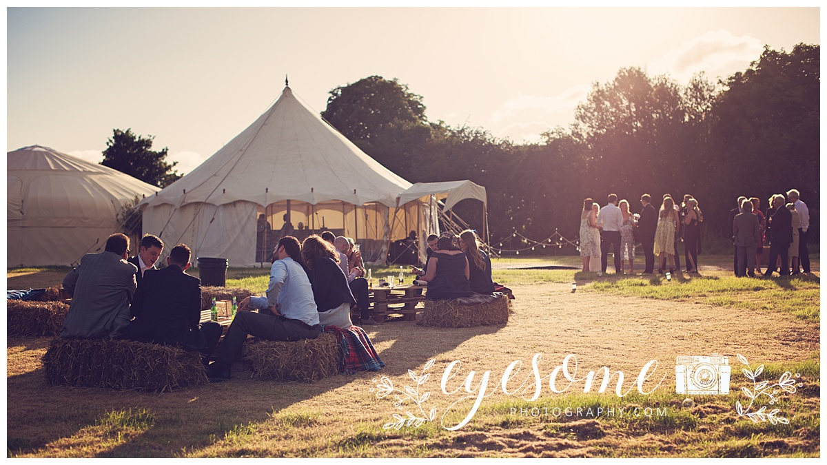 Yurts and hay bales perfected the rustic nature of this relaxed wedding day