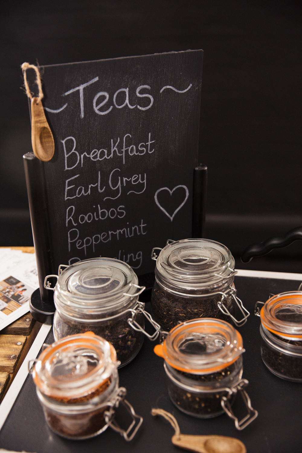 Selection of loose leaf teas displayed in mason jars with menu for Something Brewed  Mobile Coffee Bar & Afternoon Tea Caterers for hire: Weddings, Corporate & Events using Speciality Coffee.   Glasgow, Edinburgh & Scotland