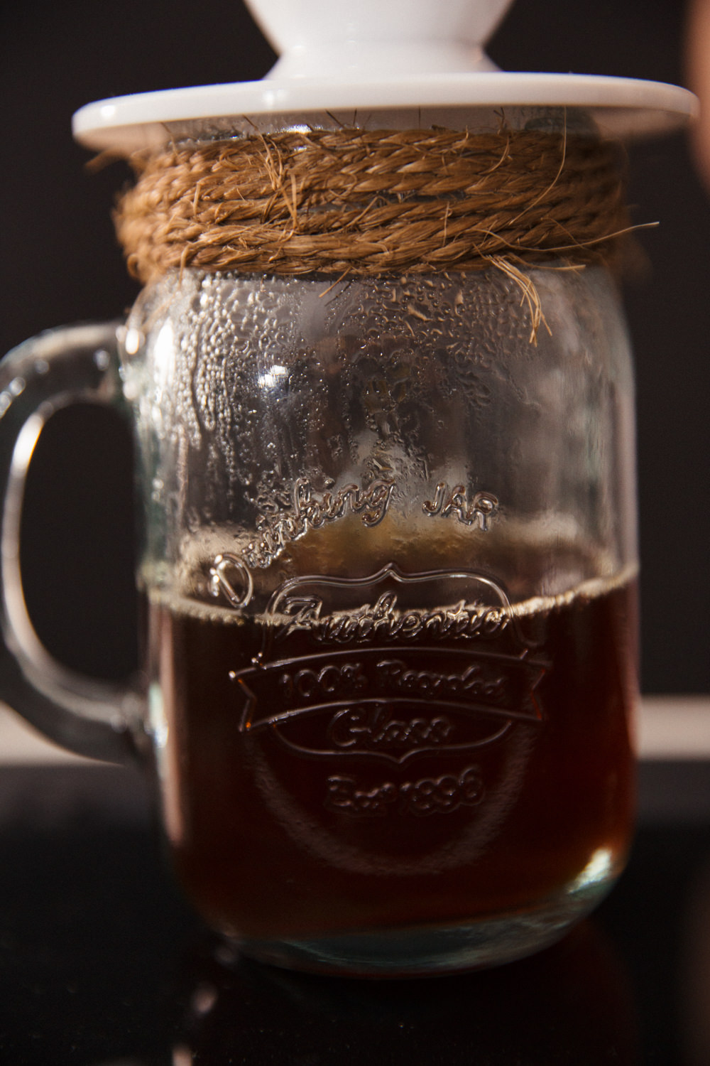 V60 filter coffee dripping into mason jar and twine from Something Brewed
