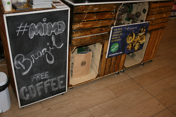 Something Brewed Coffee Bar personalised to include corporate branding on cart as well as branded stickered cups