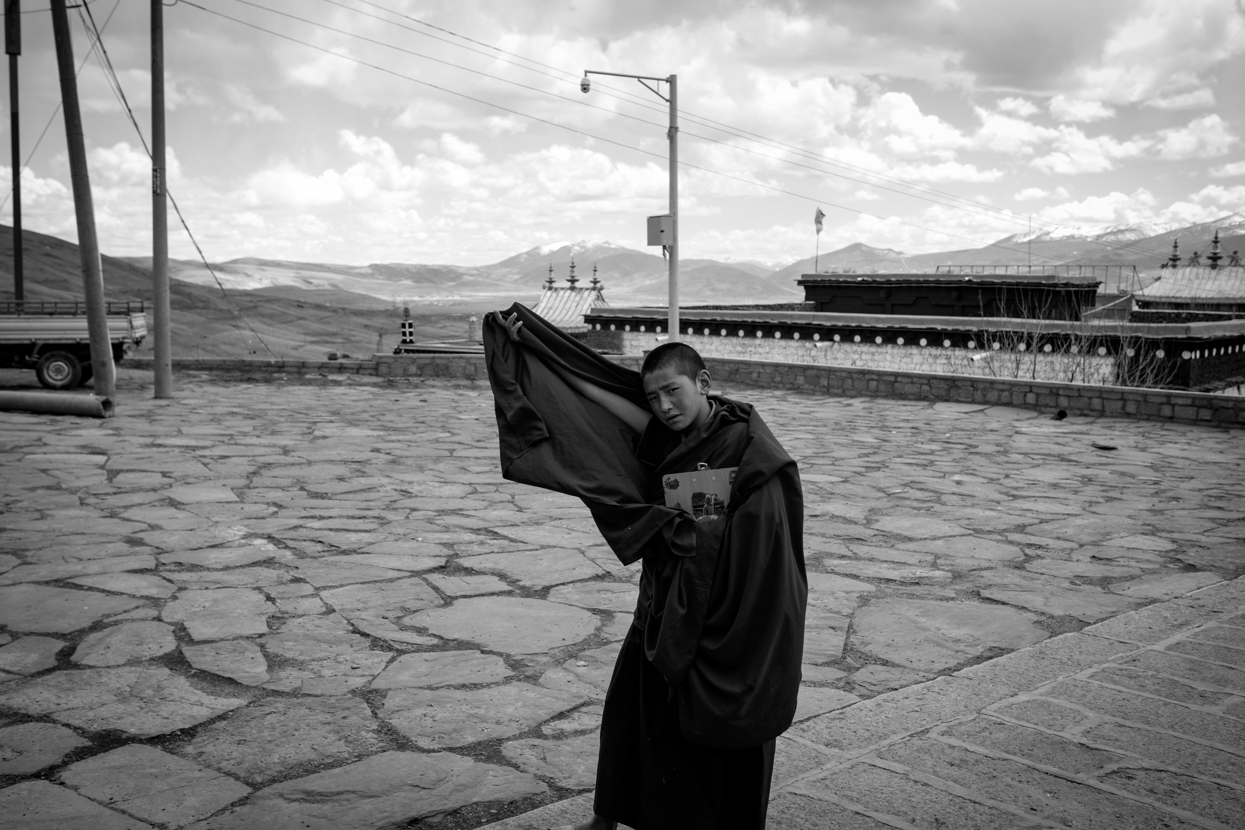 Monk walking to the monastery