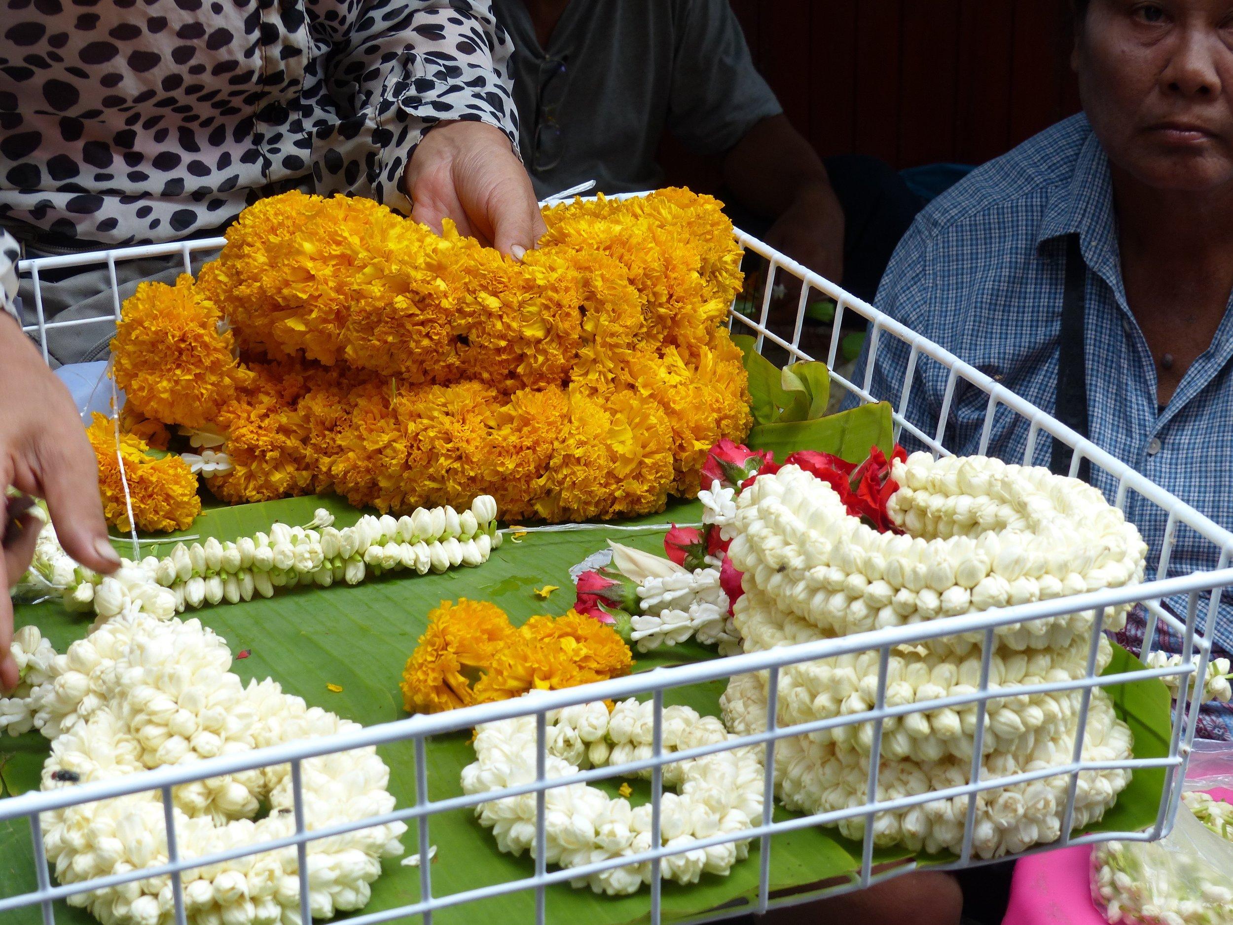 Jasmine wreaths for honoring shrines.