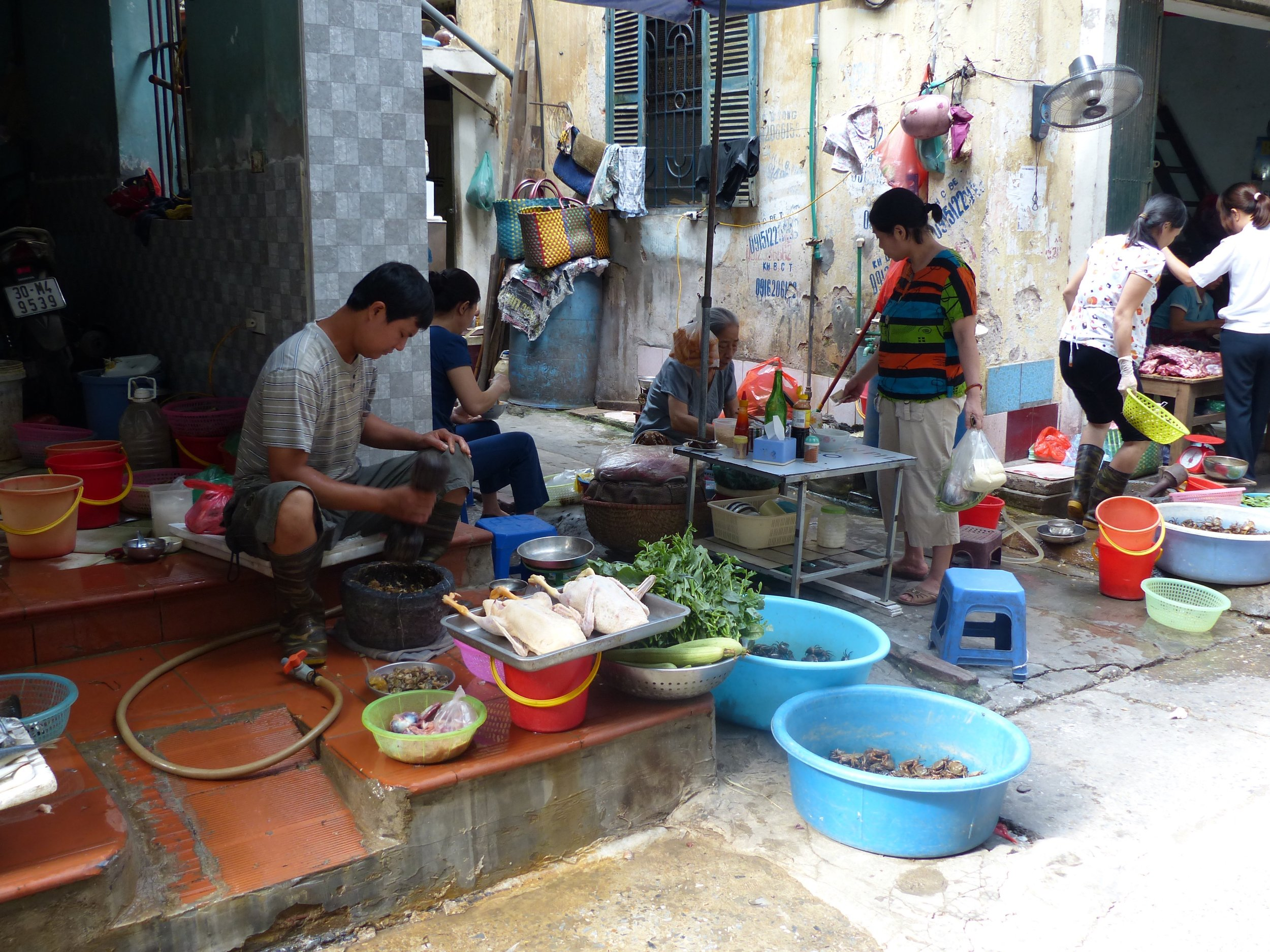 Here's the scene of that crab smashing. Just another day in Hanoi.