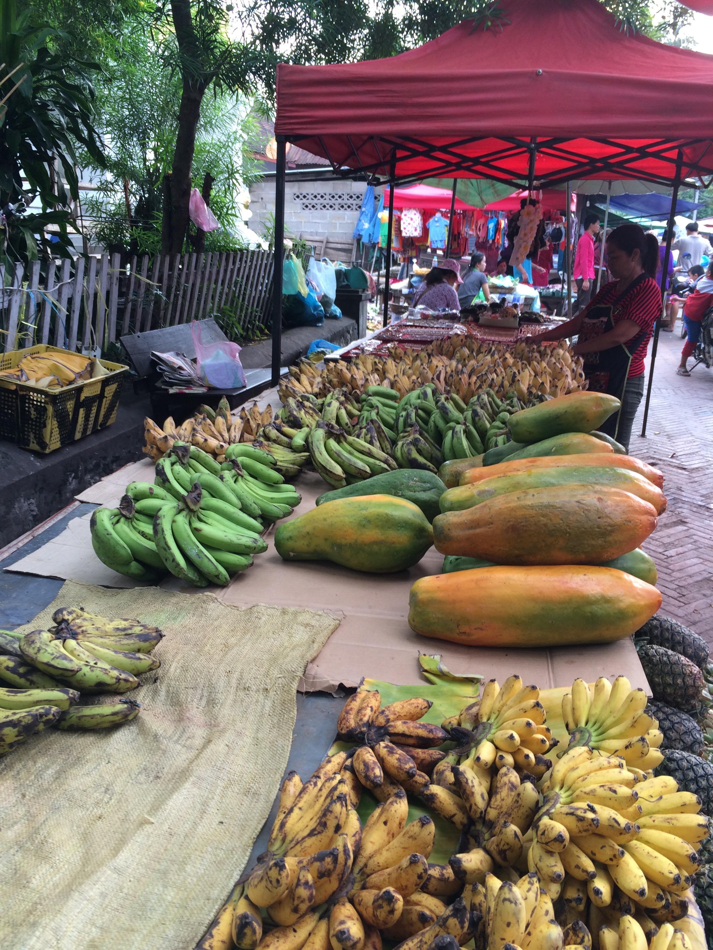 Biggest papayas next to the most diminutive bananas. Both intensely fabulous.