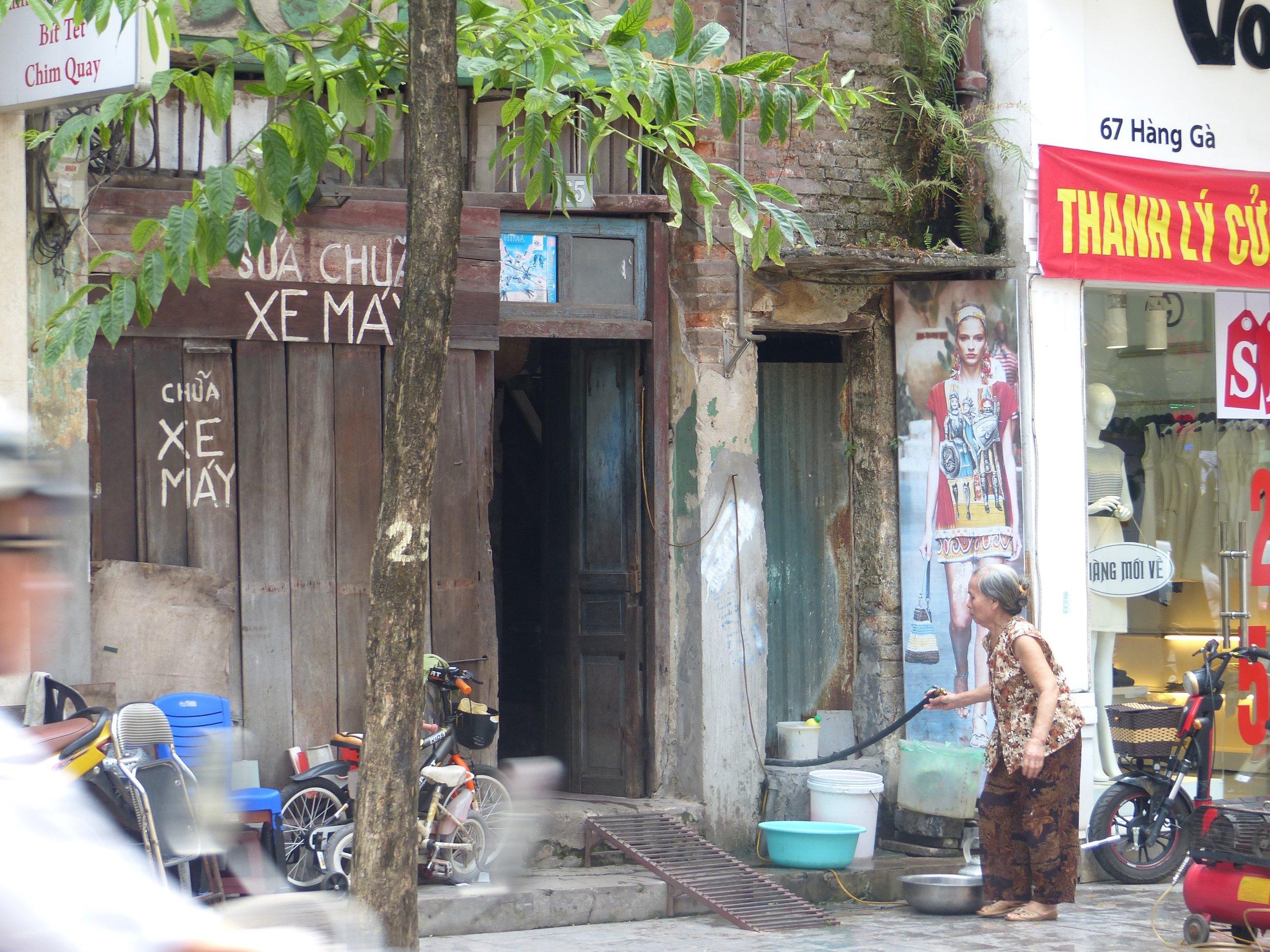Hanoi scene, with scooter ramp
