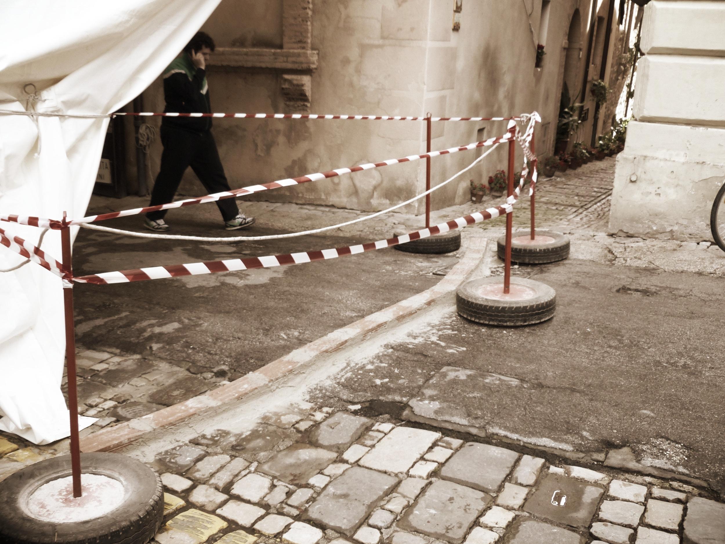 Barriers laid for Infiorata in Spello, Umbria