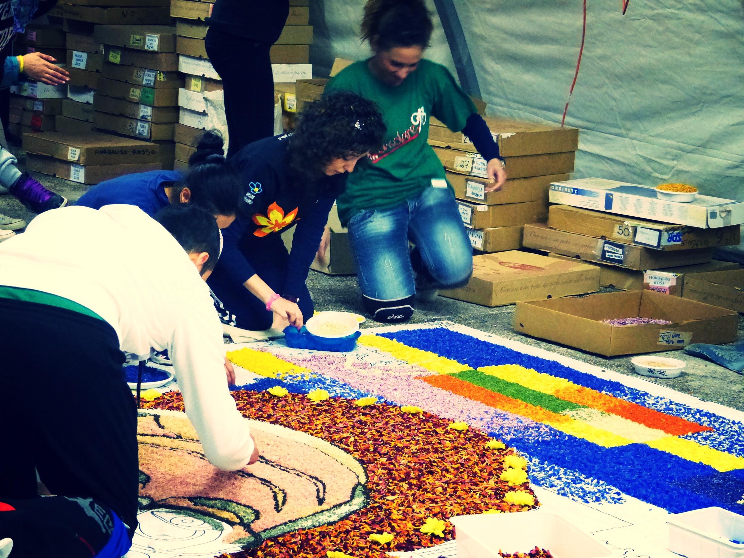 Working on Francis for Infiorata in Spello, Umbria