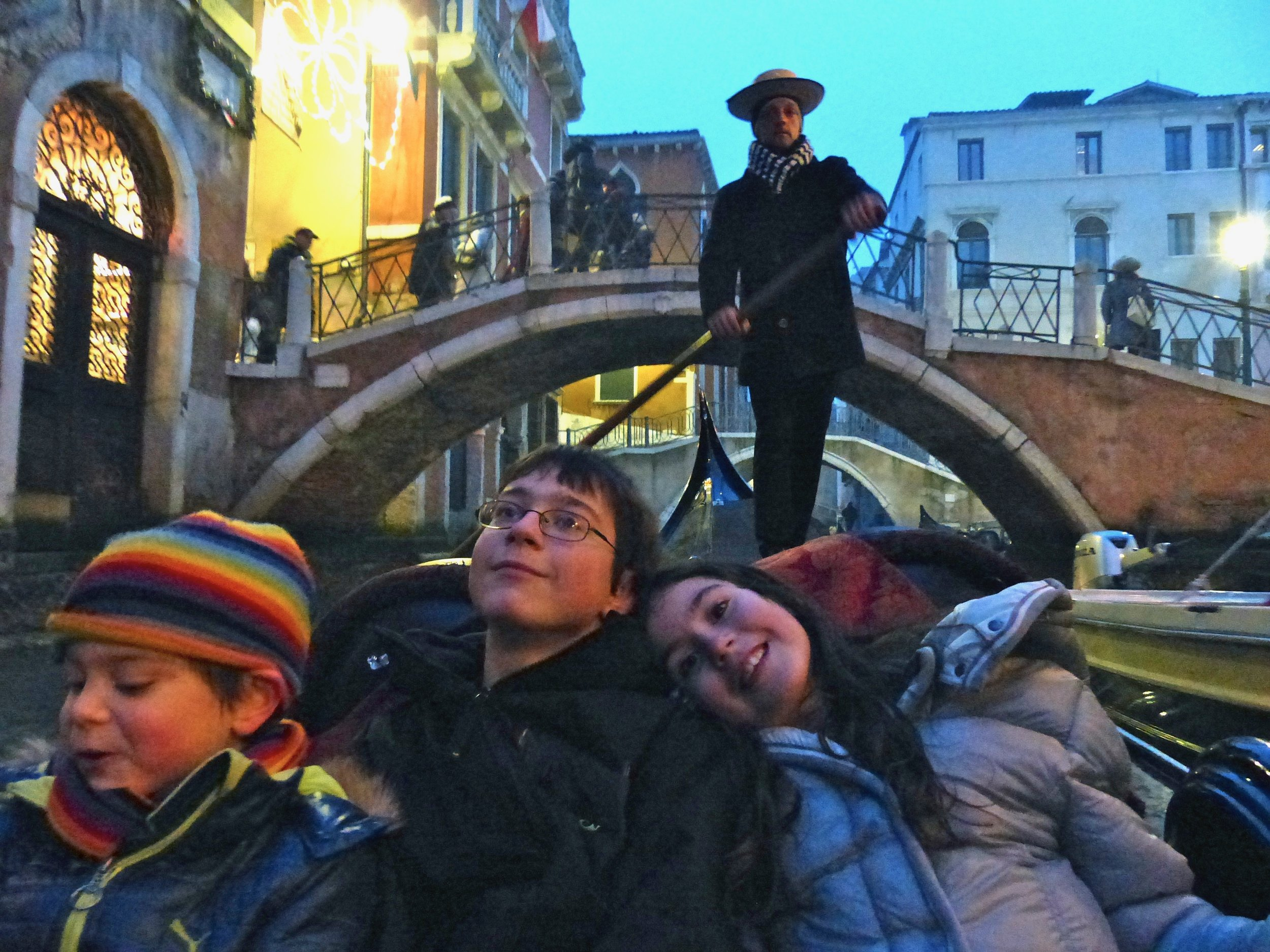 Kids and Gondola in Venice, italy