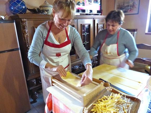 Conci teaches Doreen and me to make pasta in Bettona, Umbria