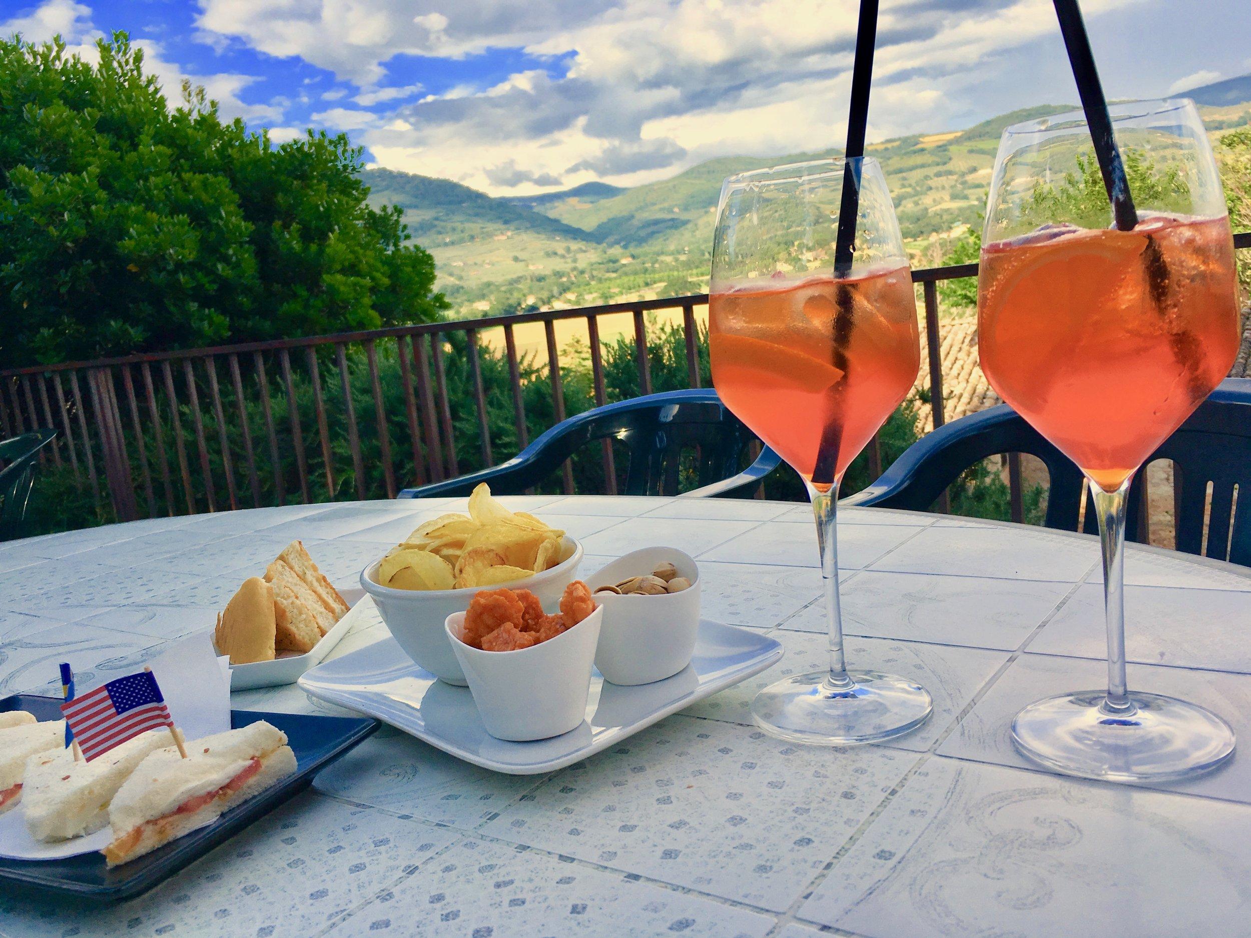 Spritz at Bar Bonci, in Spello, Umbria