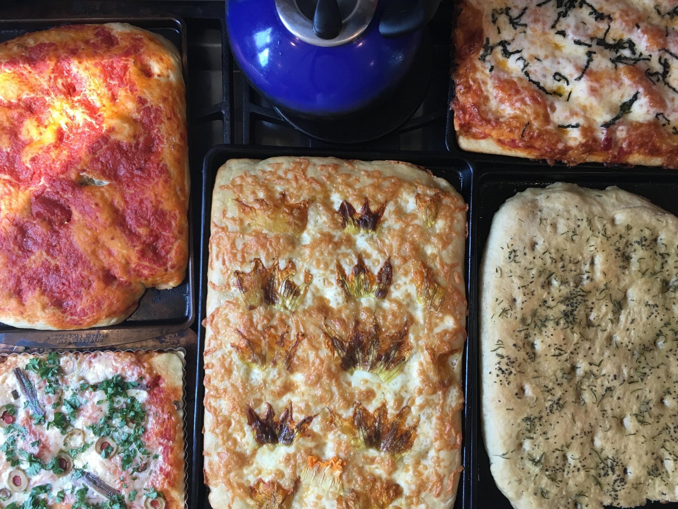 Focaccia pizza like from the forno in Spello, Umbria