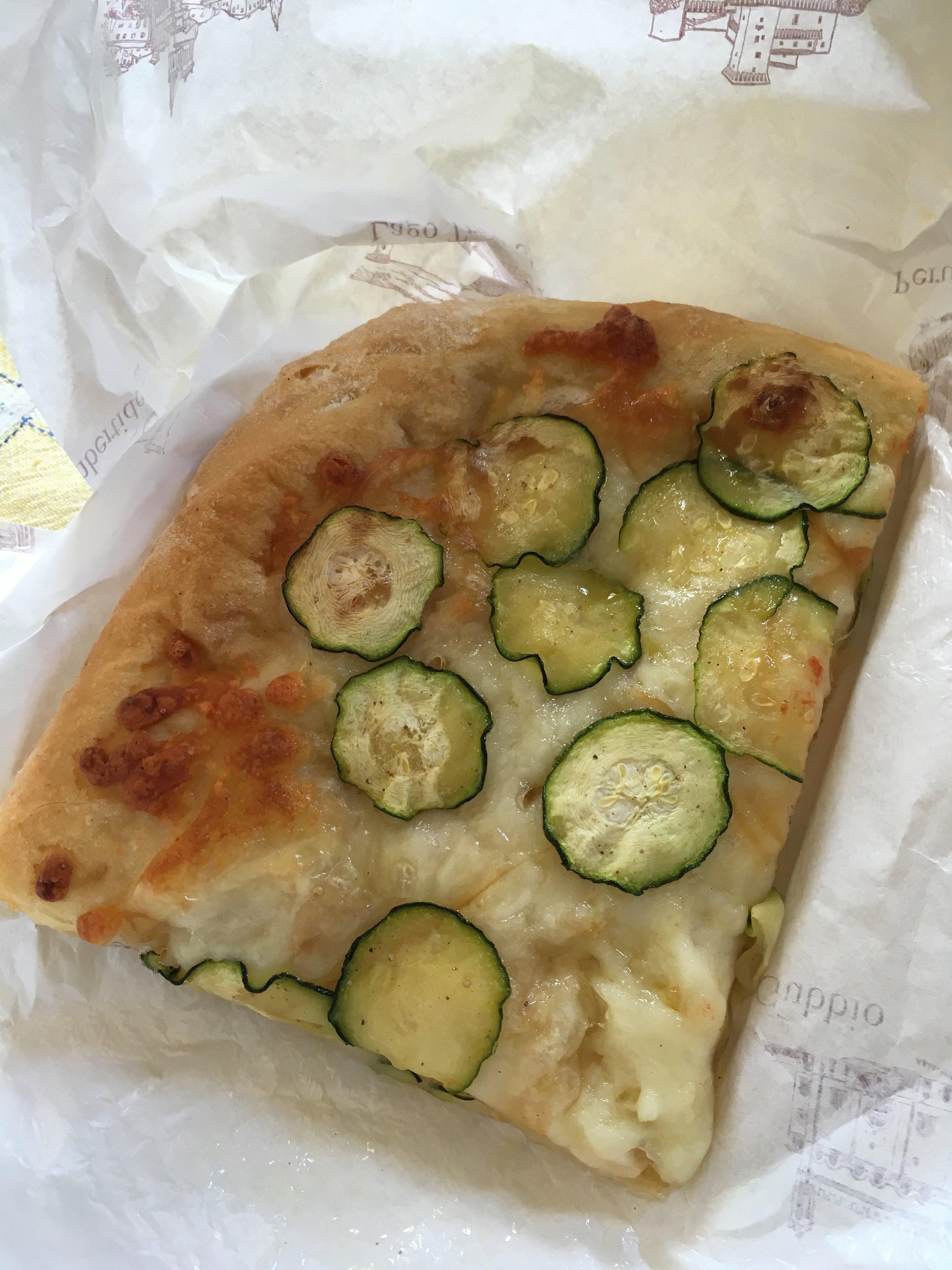 Zucchini pizza from Forno Artigiano in Spello, Umbria