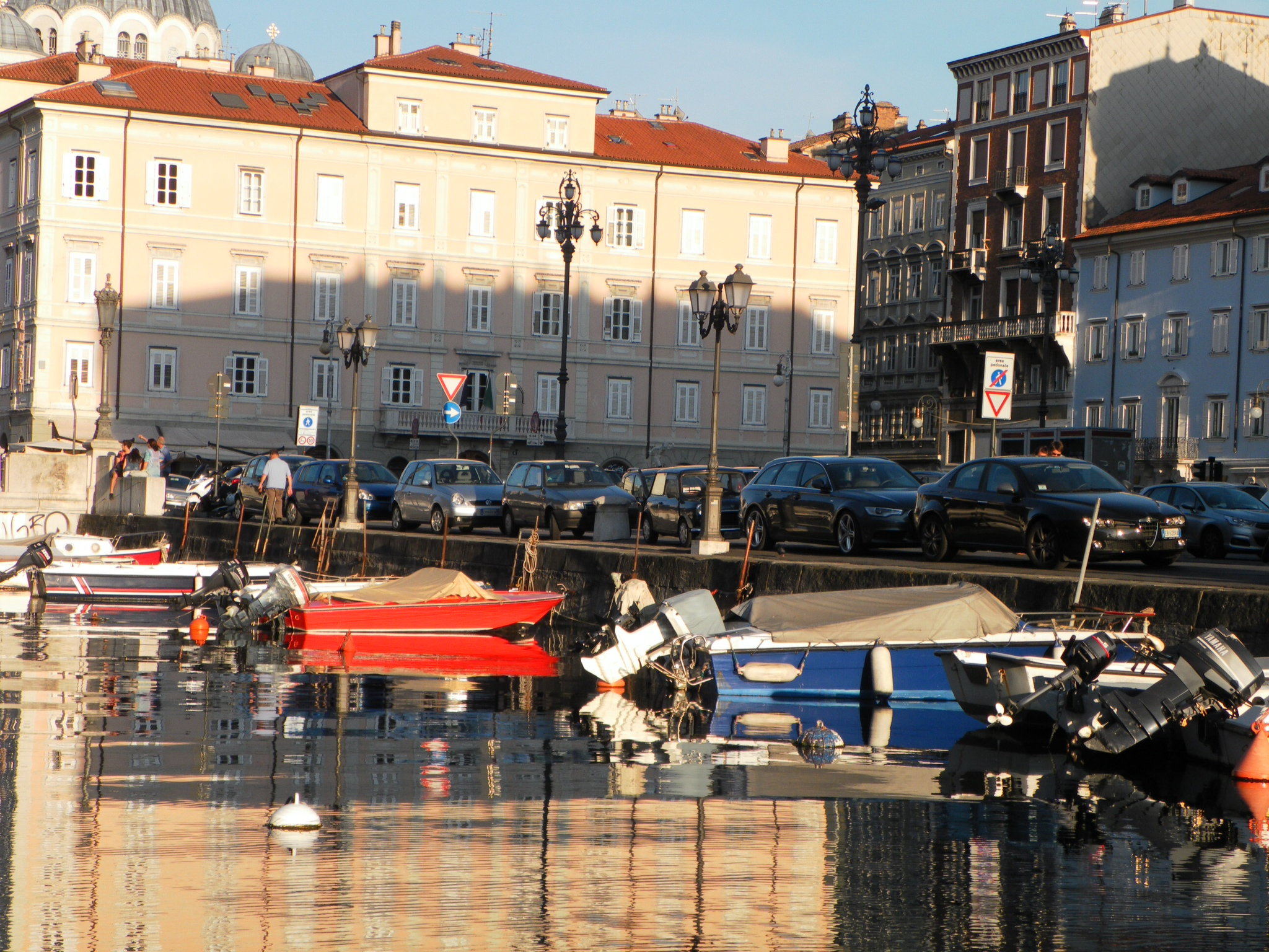Canal Grande looking toward the dome of San Spiridone, the Serbian Orthodox Church in trieste, Italy
