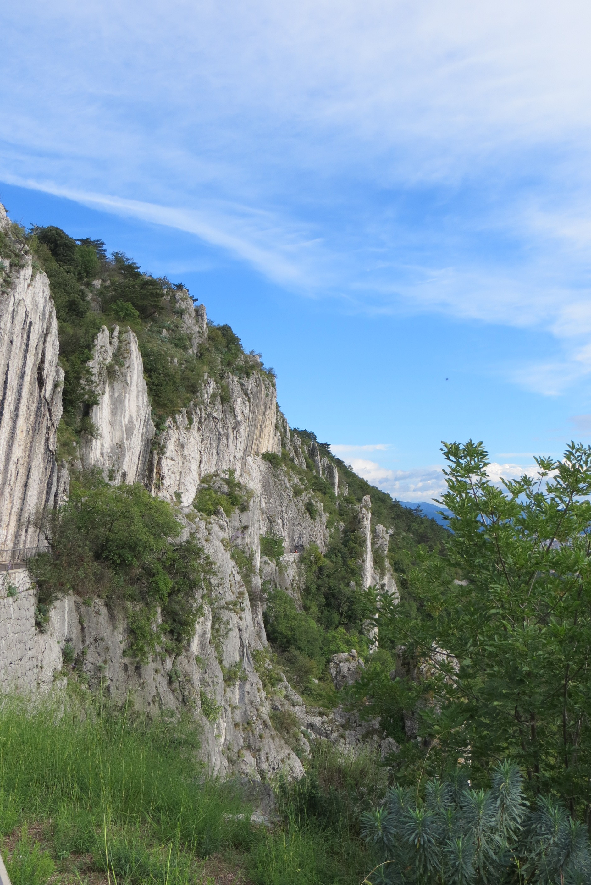 The cliffs of the Strada Napoleonica, above the Barcola of Trieste, Italy