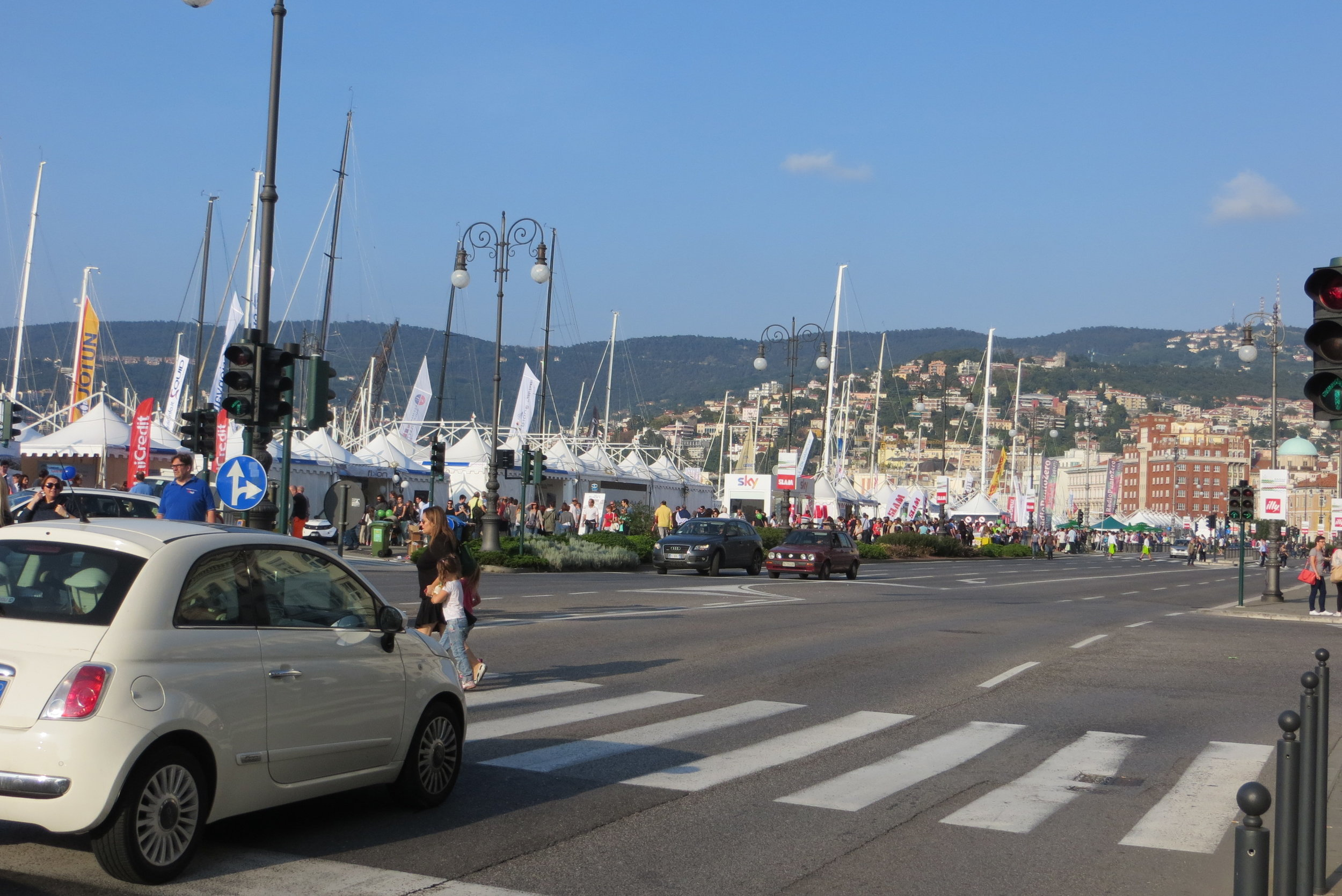 The Riva waterfront during the Barcolana sailing festival week in Trieste