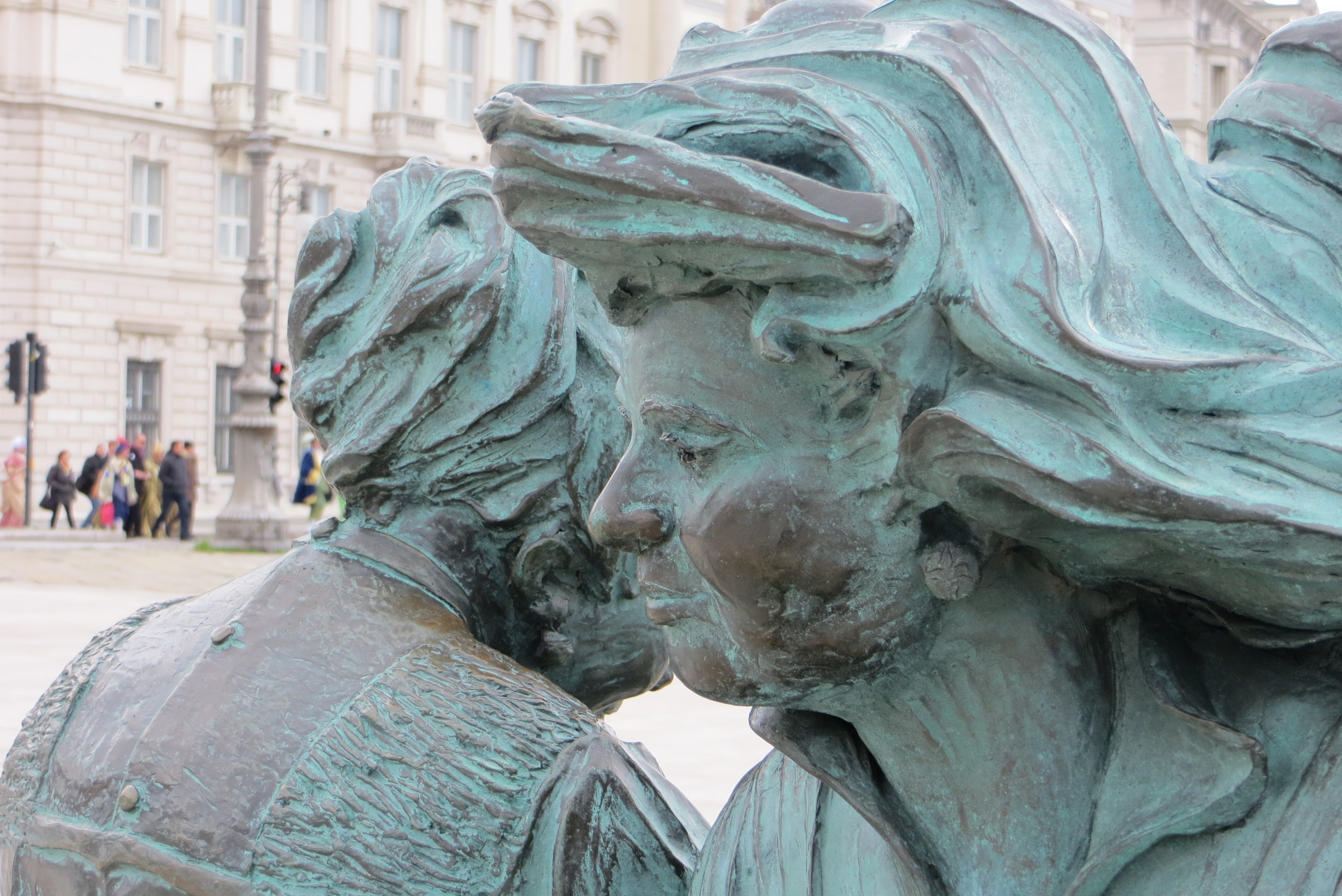 Triestine sisters on the waterfront in front of Piazza dell'Unità, Trieste