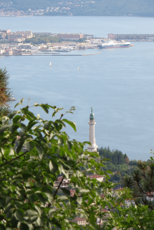 The Gulf of Trieste, the waterfront part of the city center, and the Faro della Vittoria from the Strada Napoleonica in Trieste