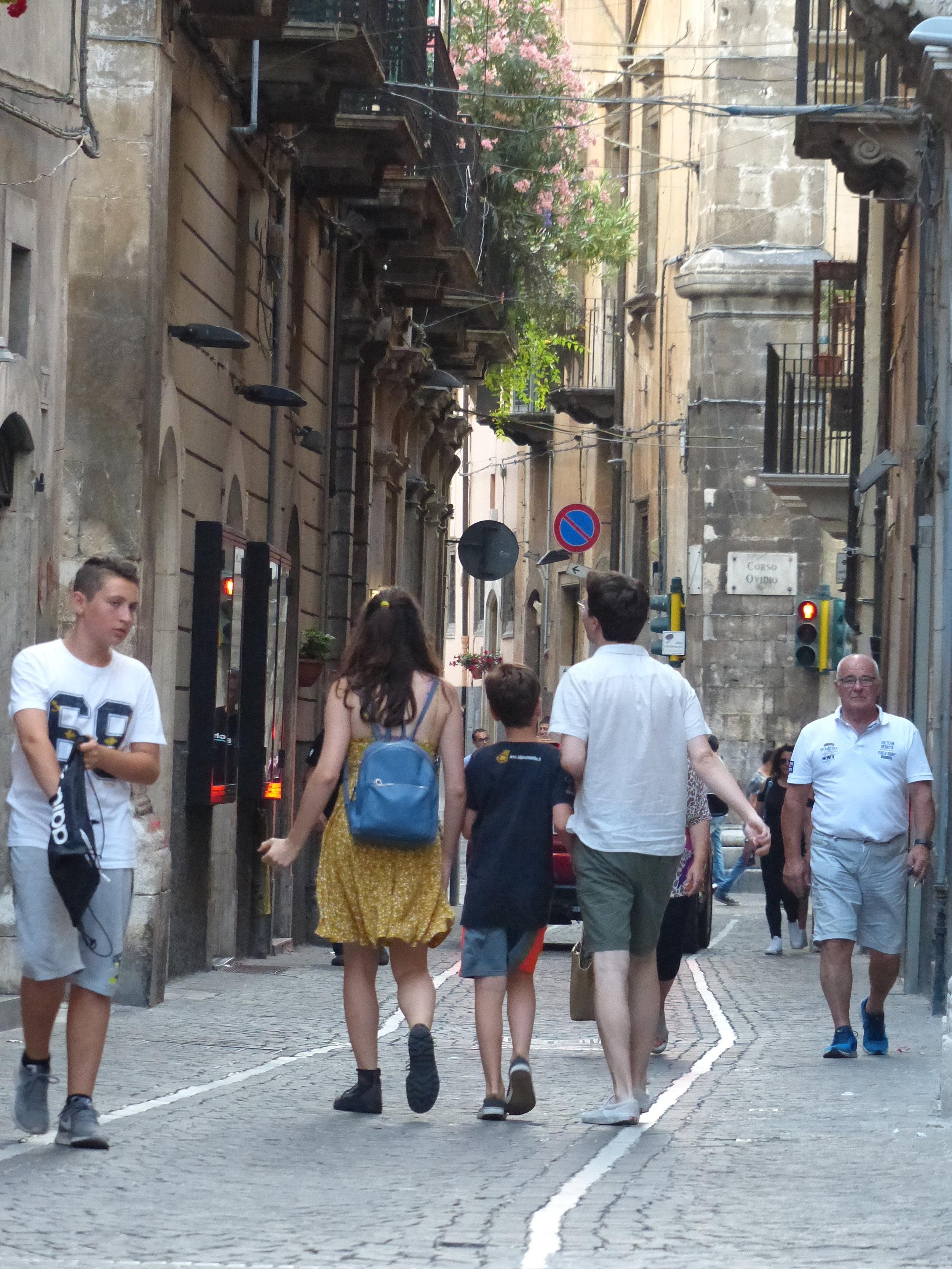 Kids walking down street in Sulmona, Abruzzo