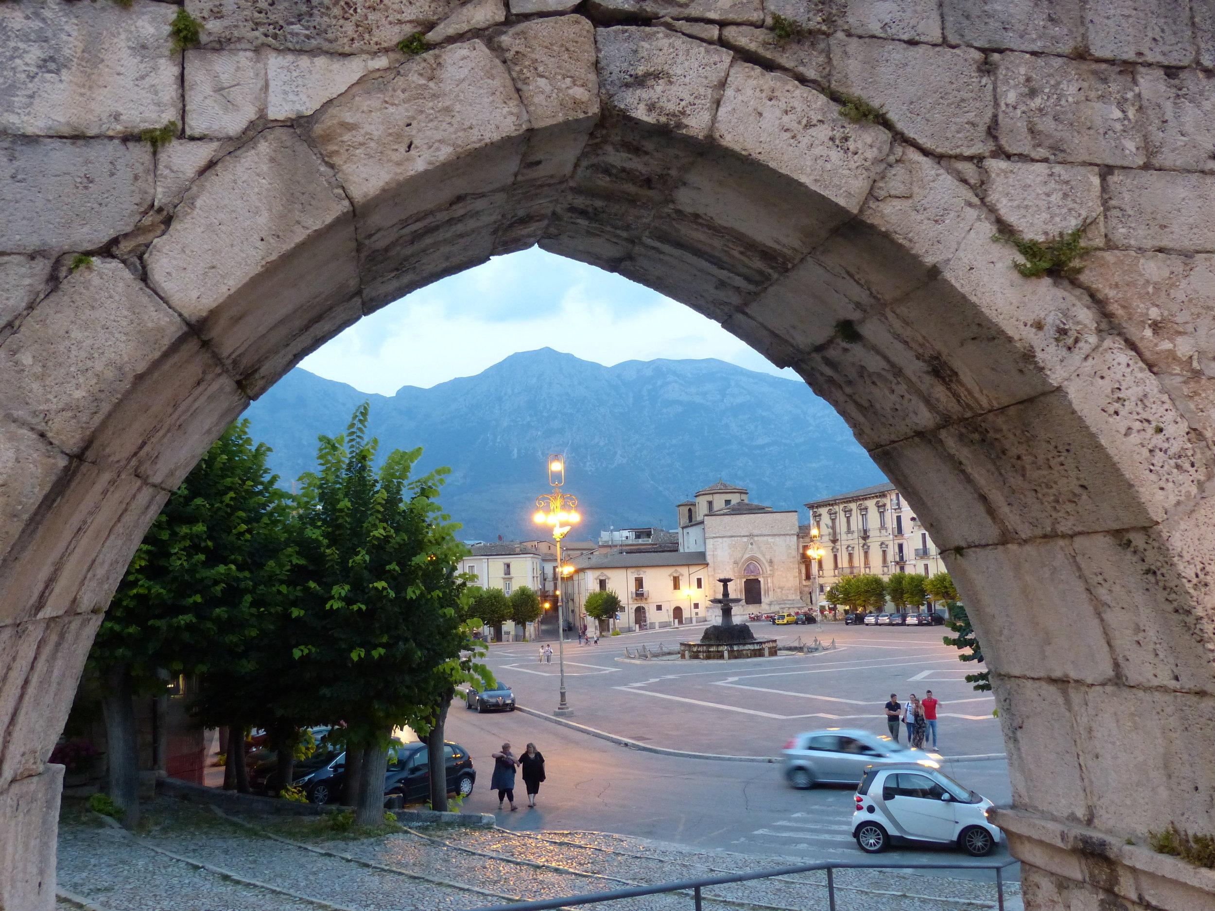 Through the aqueduct arch