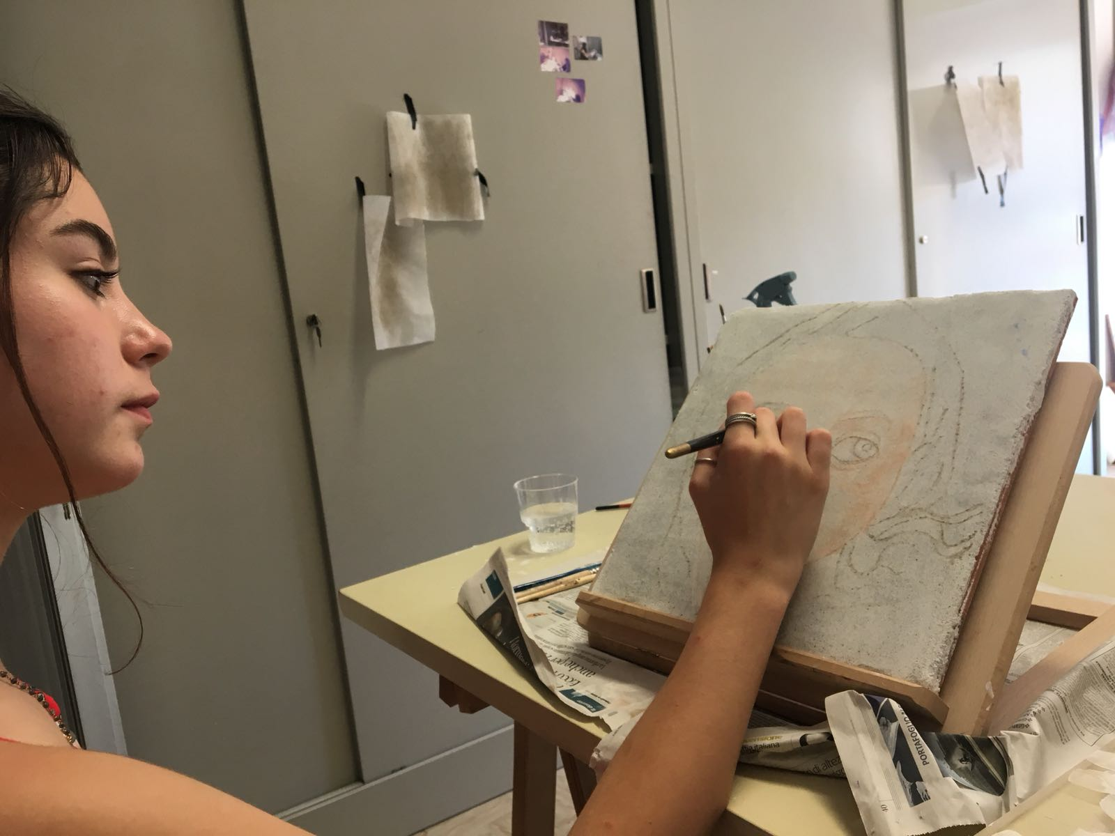 Siena working on her first fresco in Arezzo