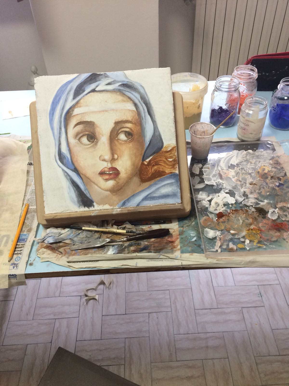 Siena finishes her first fresco!