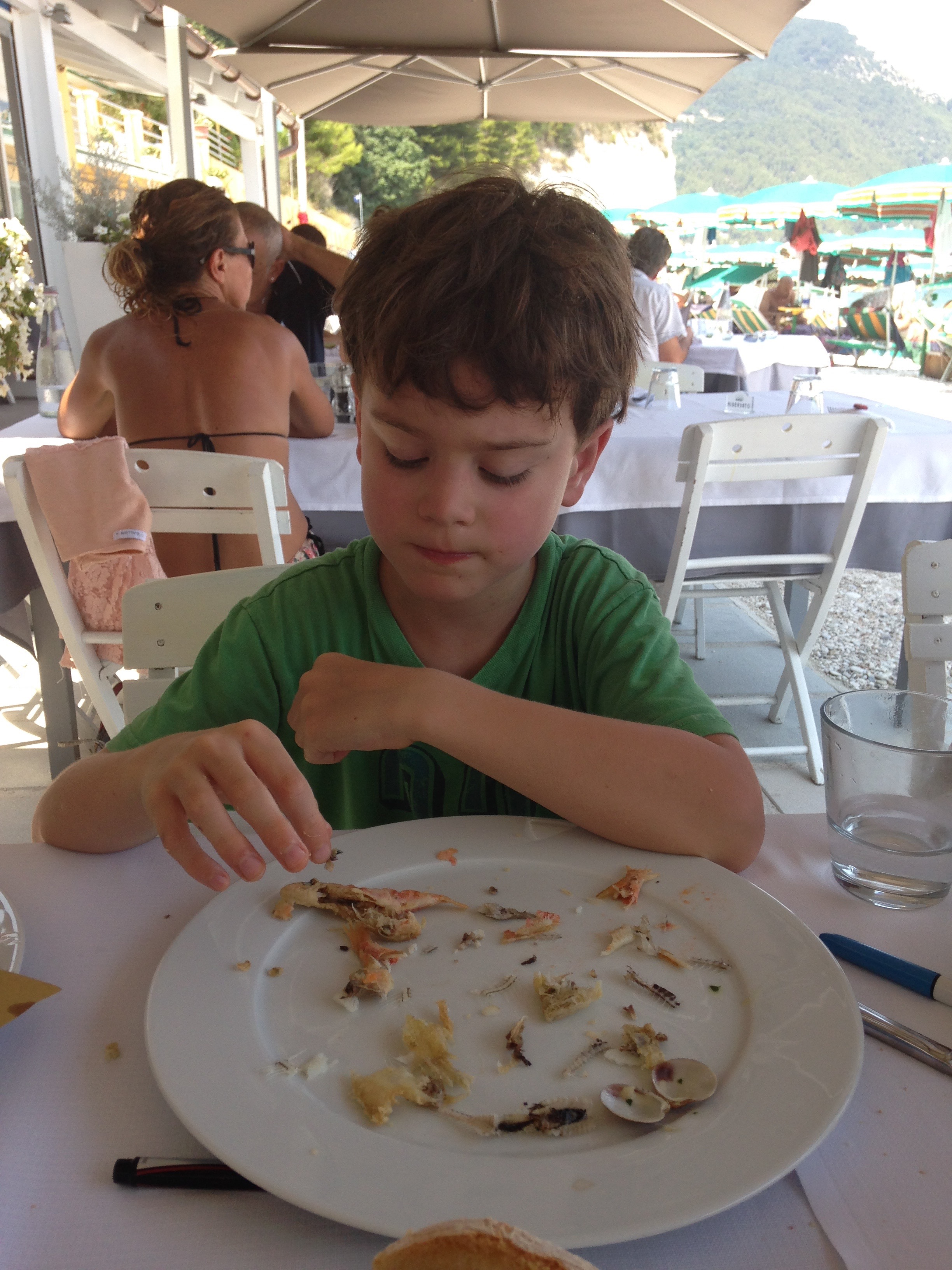 Gabe enjoys his seafood lunch in Le marche (neighboring Umbria) Italy