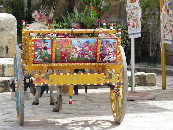 donkey cart in scopello, sicily, Italy
