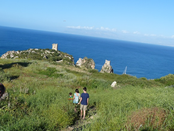 Walking to the water in Scopello, Sicily, Italy