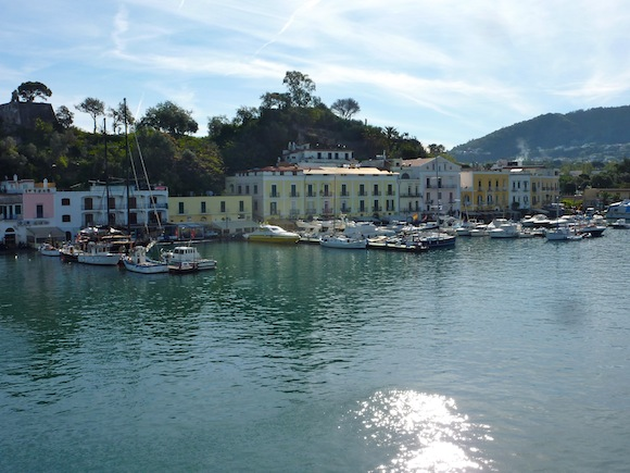 View of ischia harbor from the ferry