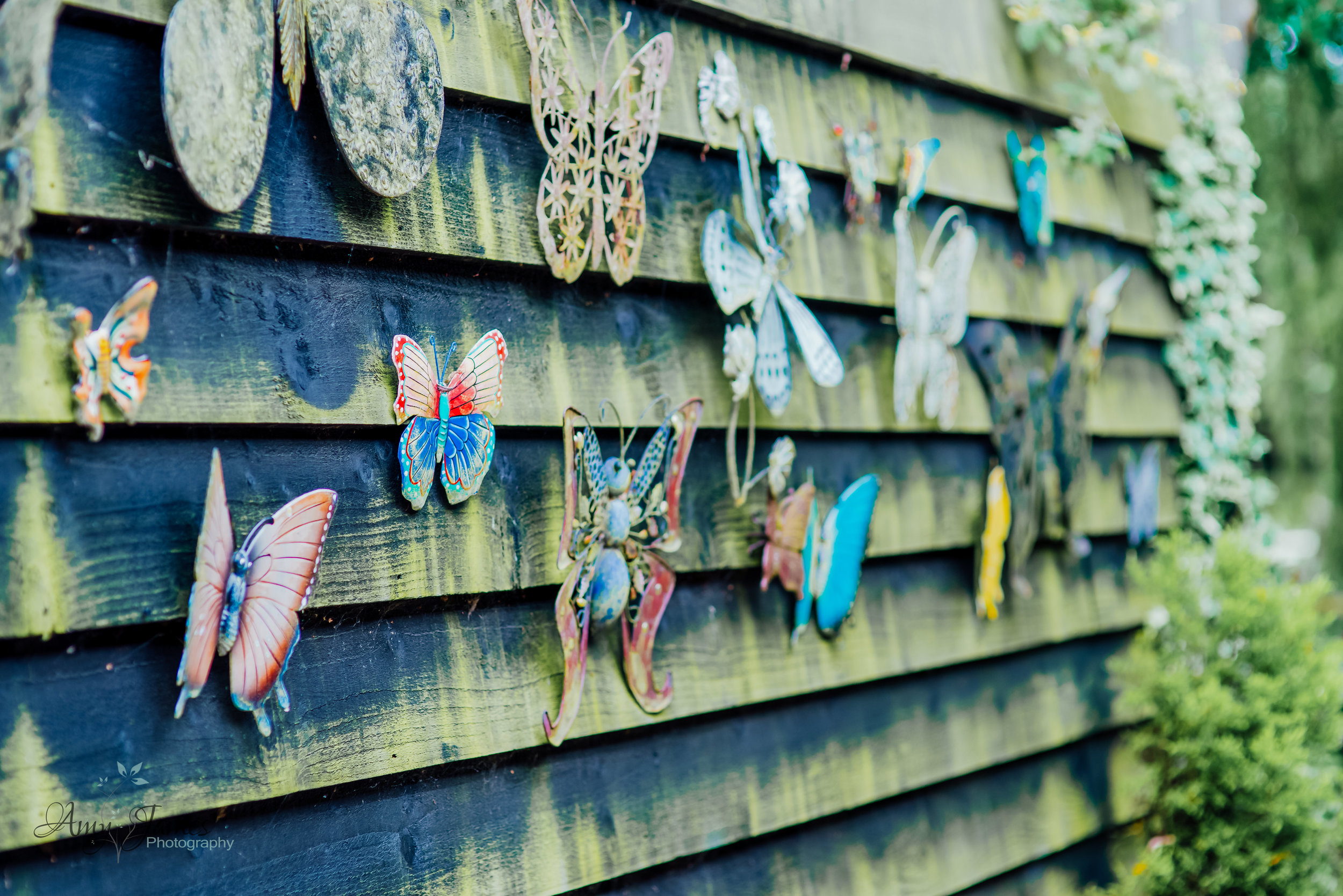 Butterfly decoration at outside wedding venue Hampshire by Amy James Photography