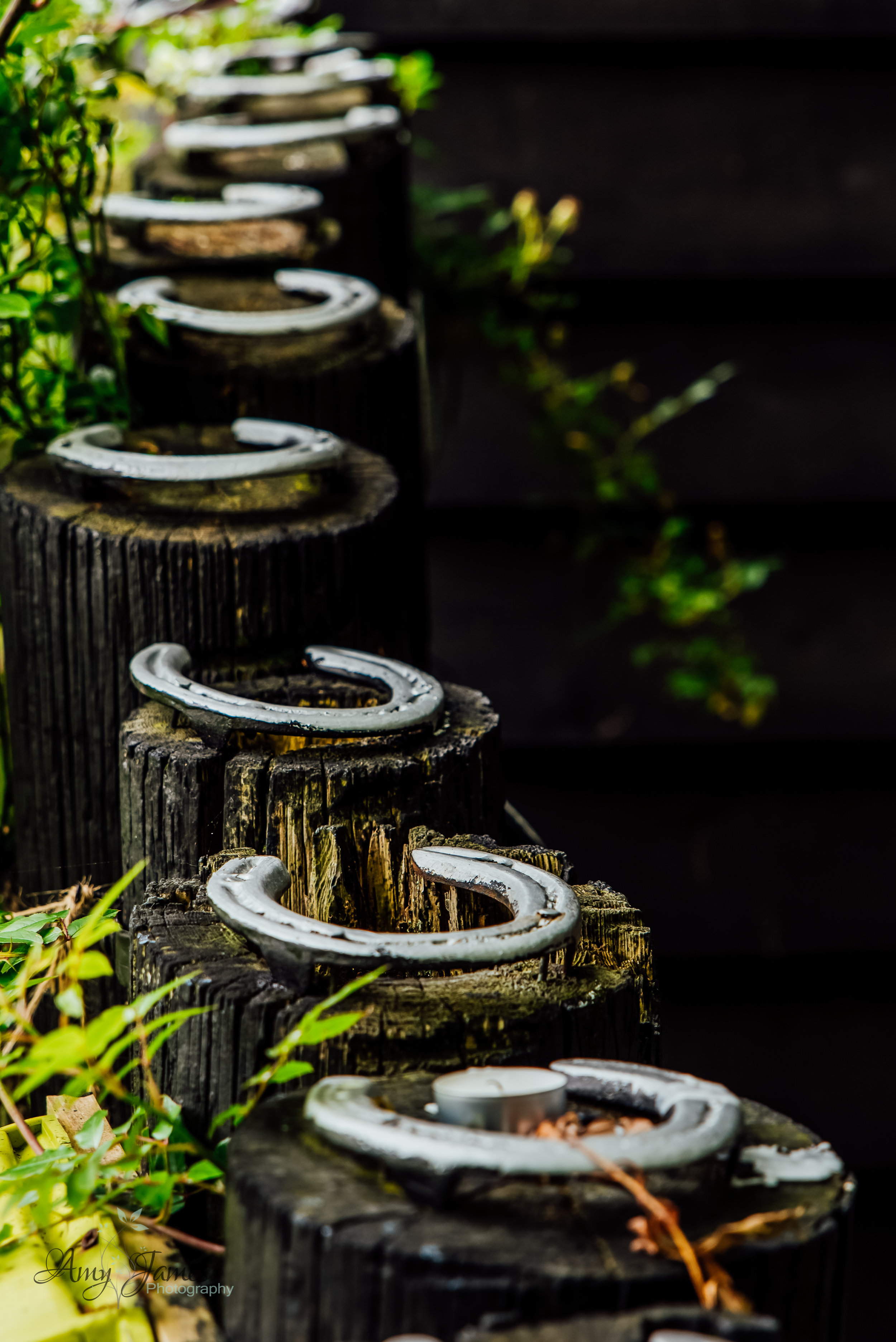 Horseshoes at outside wedding venue Hampshire Taplins Place wedding venue by Amy James Photography Wedding Photographer Fleet Hampshire