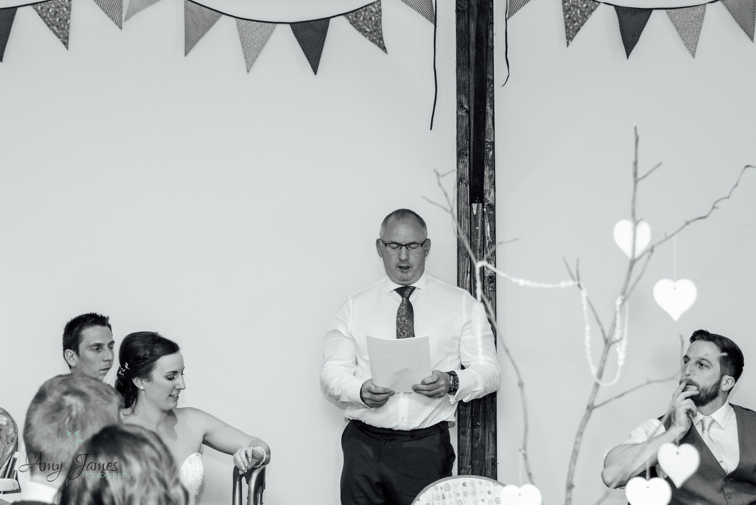 Father of the Bride Speech at Outside Barn wedding venue Hampshire Taplins Place by Amy James Photography Hampshire Wedding Photographer