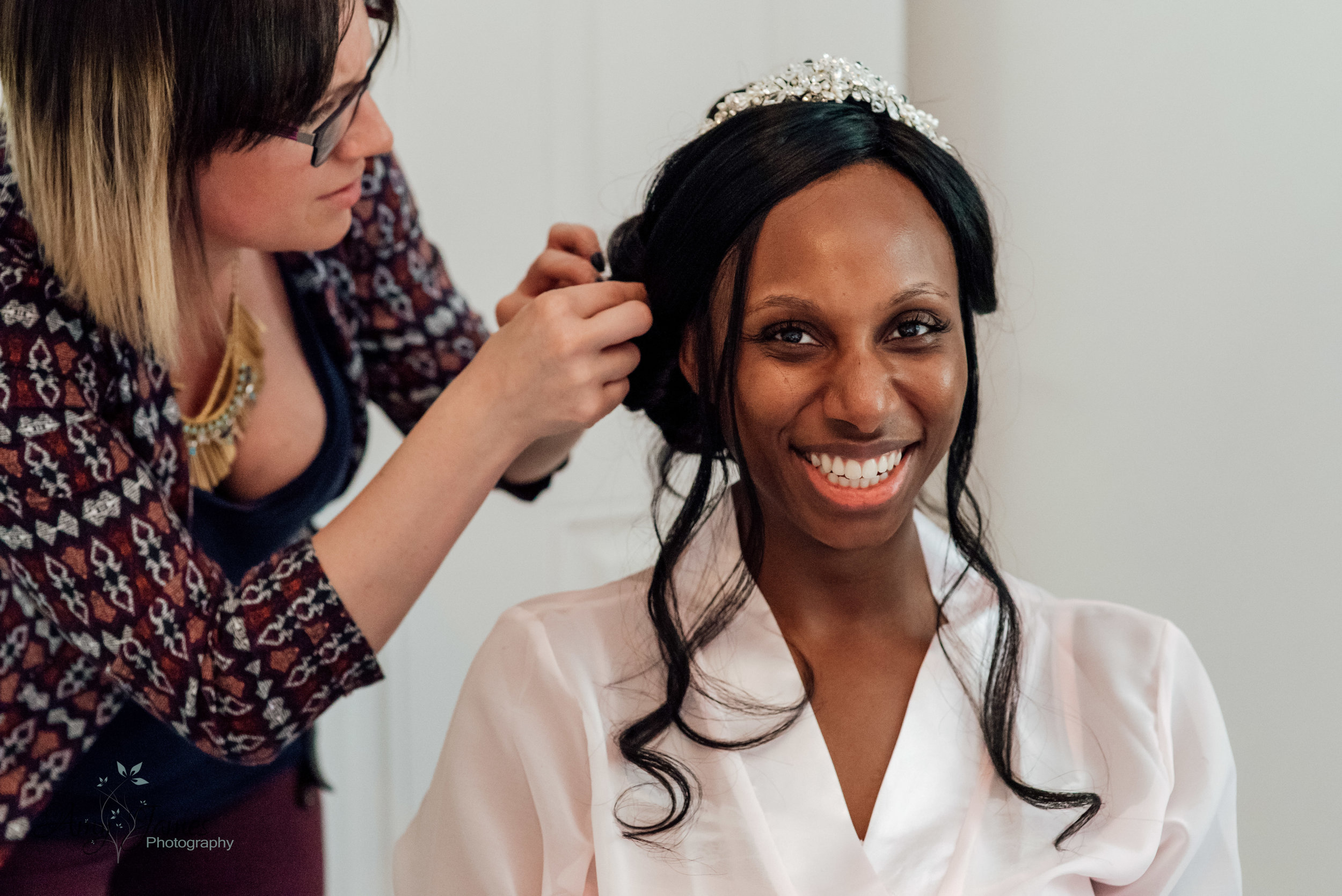 Bride getting ready for Four Seasons Hotel Hampshire Wedding by Amy James Photography Wedding photographer for Hampshire and Surrey