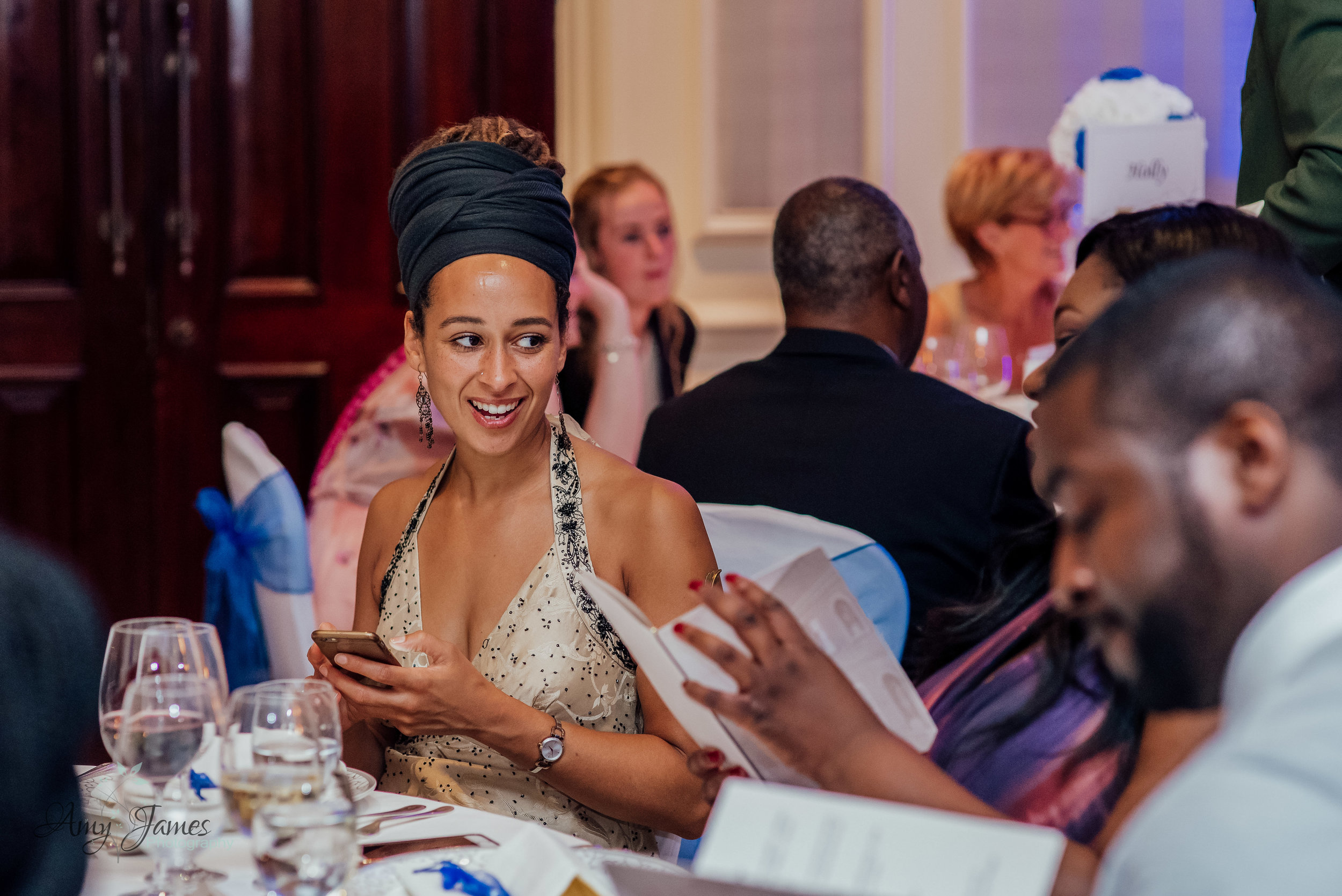 Wedding breakfast at Four Seasons Hotel Hampshire by Amy James Photography documentary wedding photographer for Hampshire and Surrey