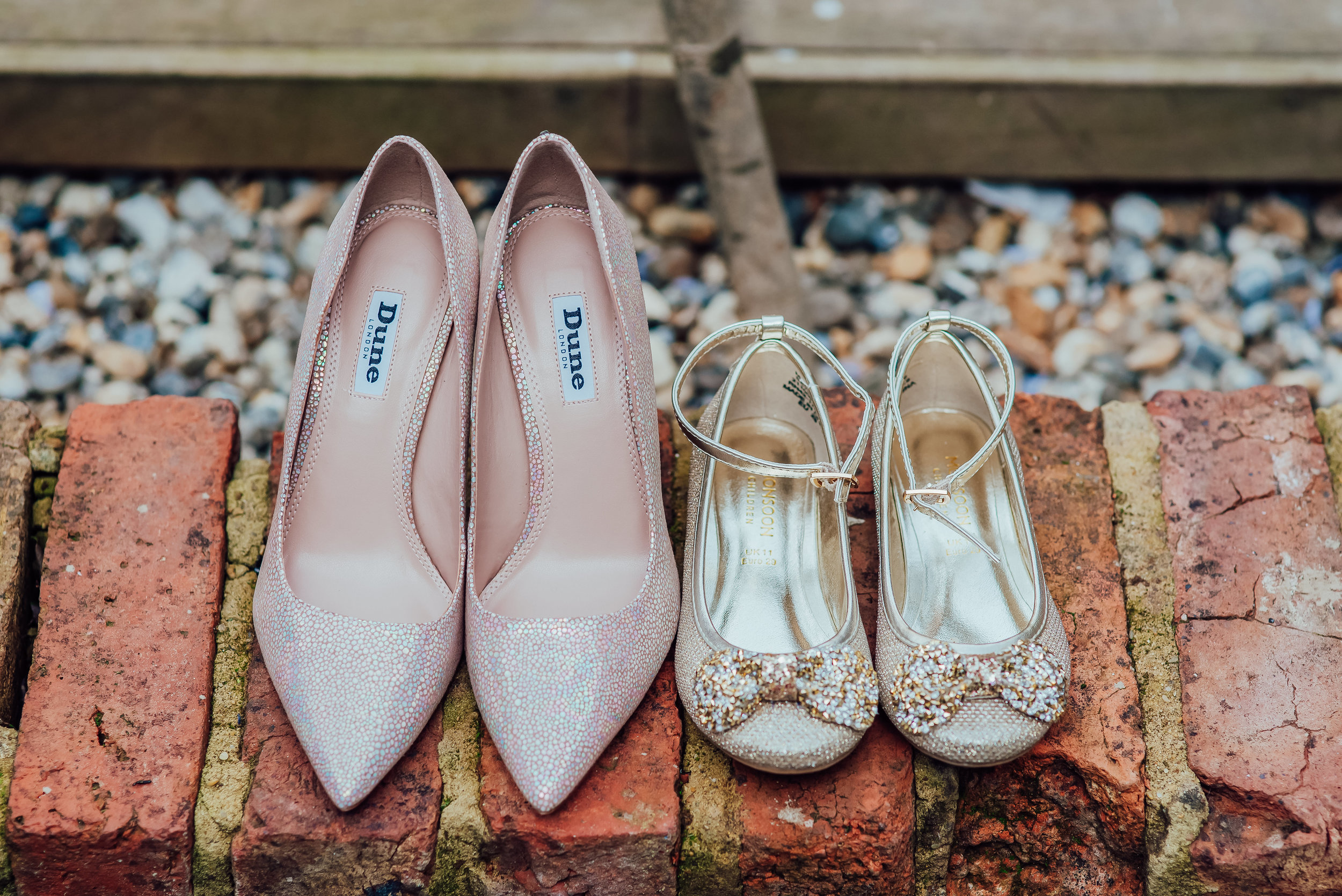 Bride and flower girl shoes - at The George In Rye Wedding venue East Sussex