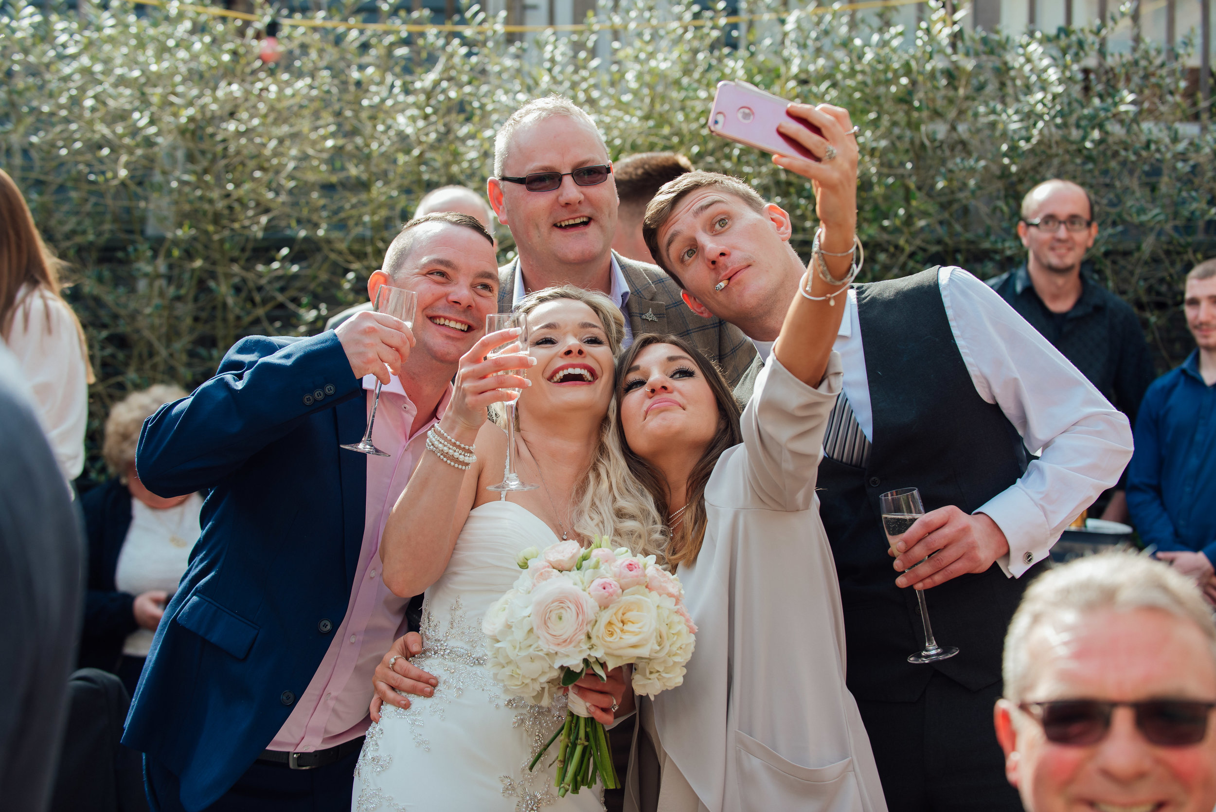 wedding selfie at the George in rye wedding venue - Amy James photography - Hampshire wedding photographer - Berkshire wedding photographer - Surrey wedding photographer