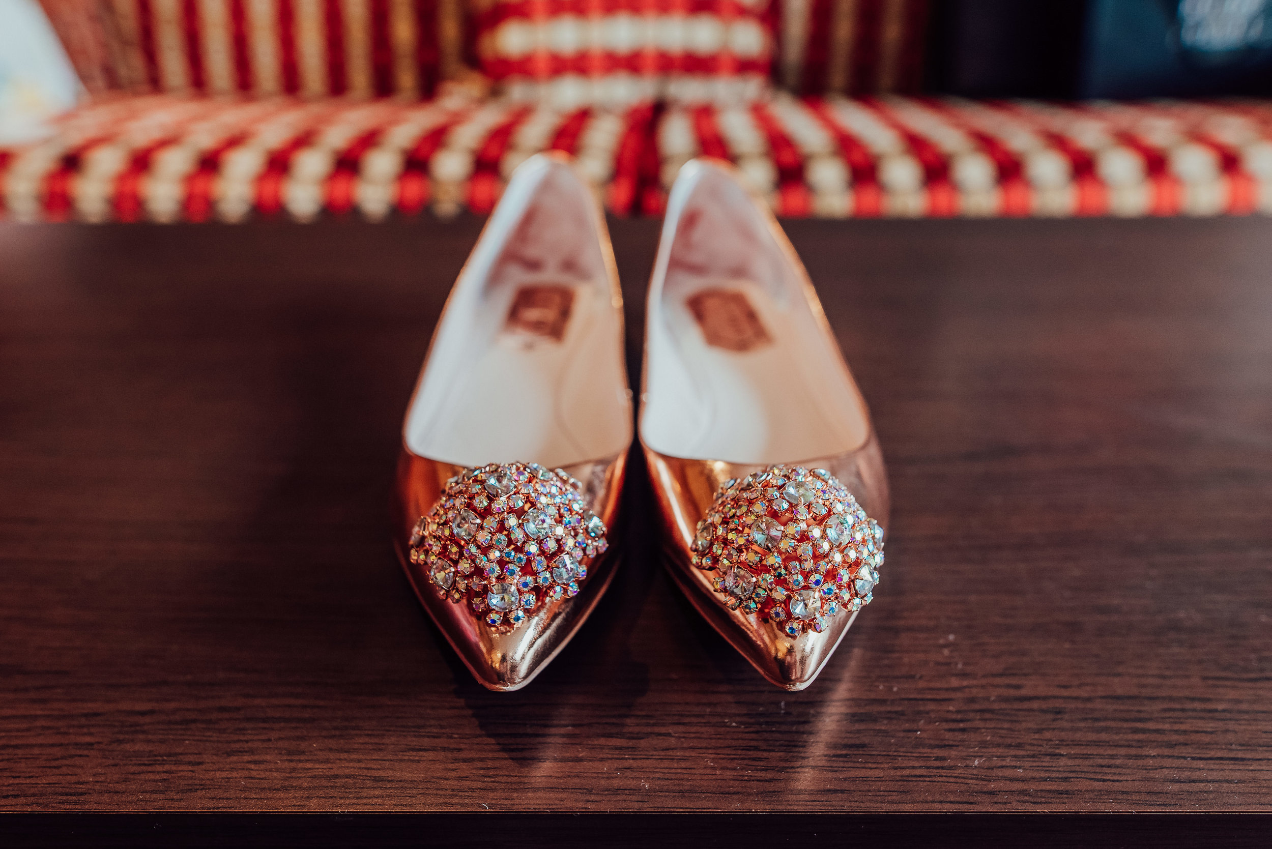 Sparkly rose gold bridal shoes - Heatherden Hall Wedding - Amy James photography - Hampshire wedding photographer