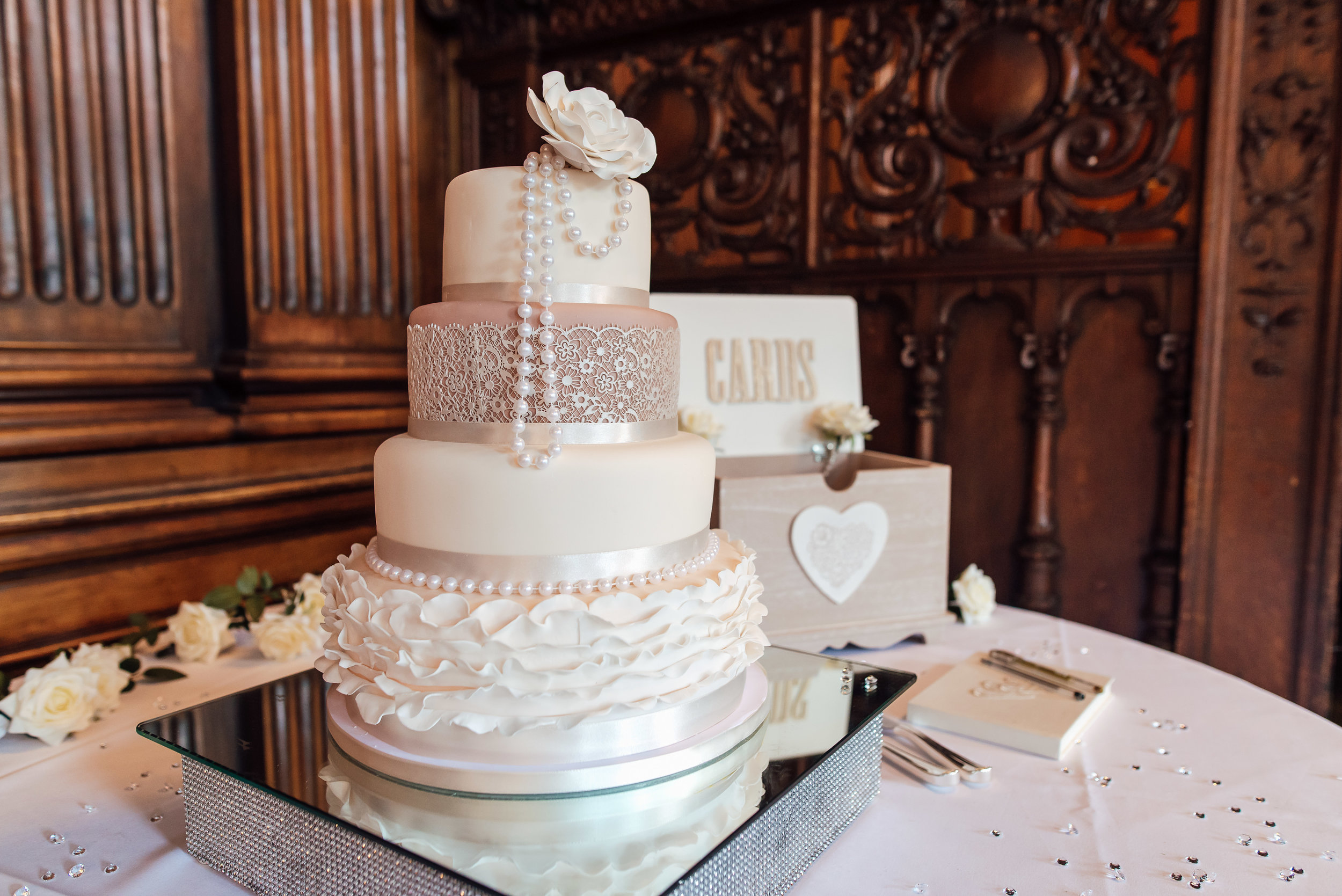 Wedding cake at Heatherden Hall wedding - Amy James Photography - Wedding photographer Hampshire Surrey and Berkshire