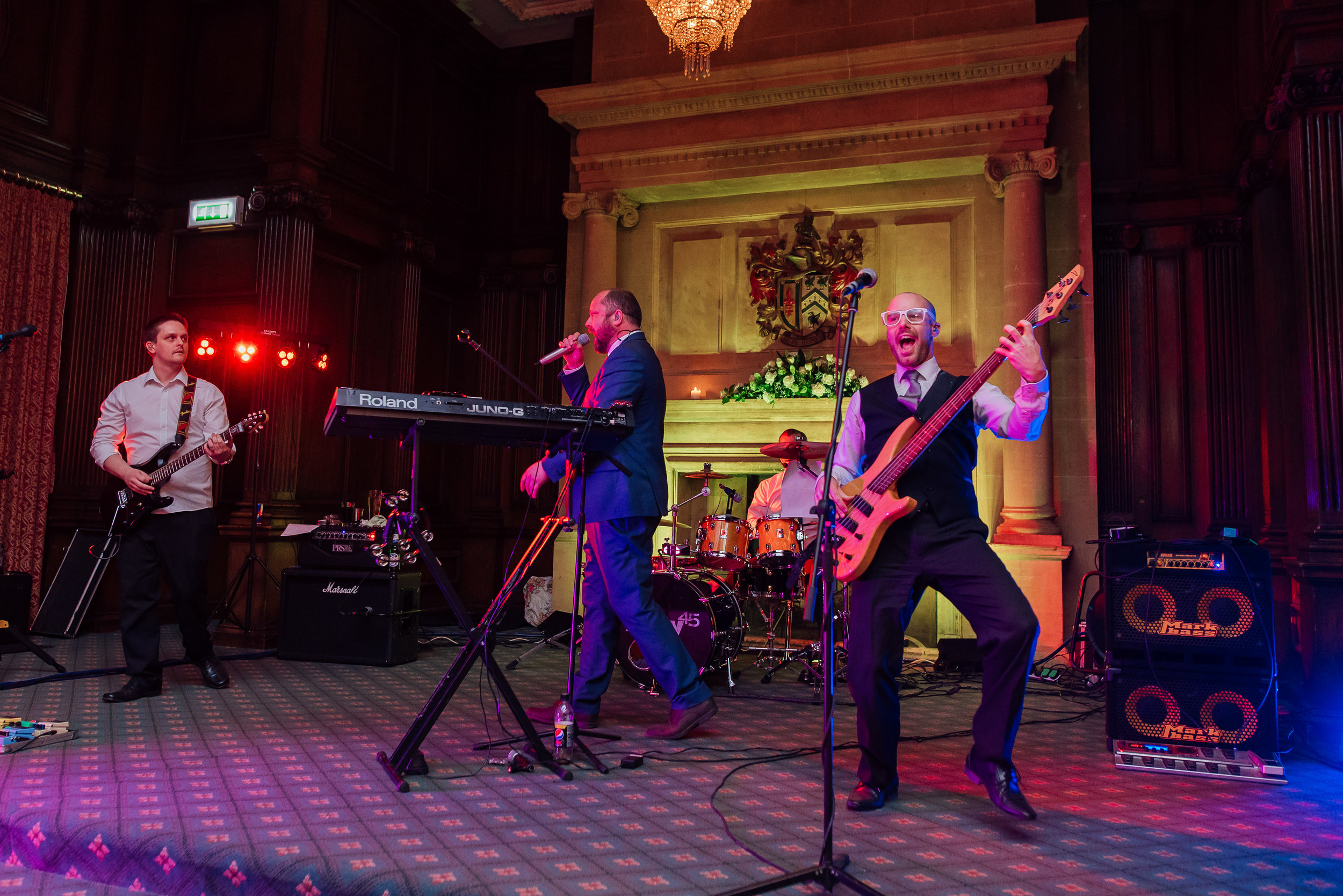 live band at Heatherden Hall Wedding  - Amy James photography