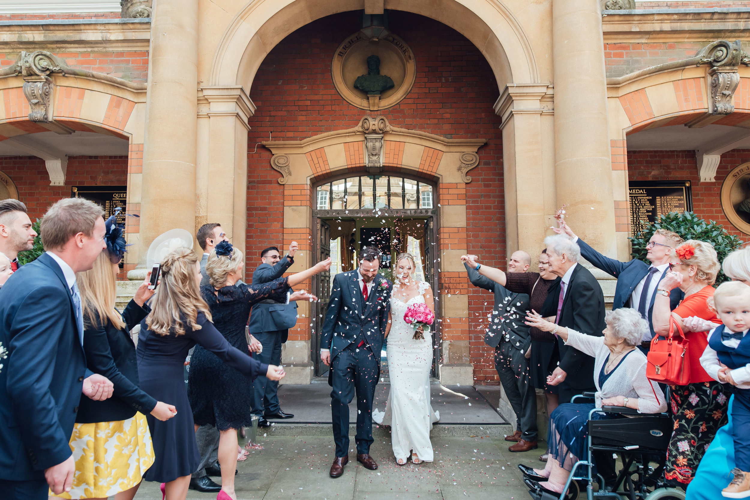 confetti-at-wellington-college-wedding / hampshire-wedding-photographer-hampshire / Amy-james-photography