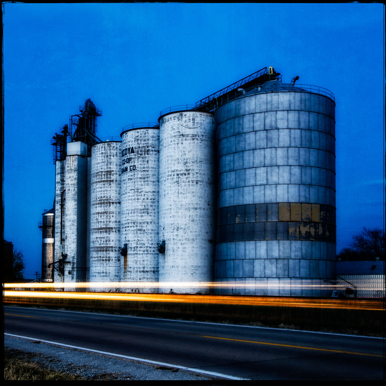Old Grain Elevators at Dusk