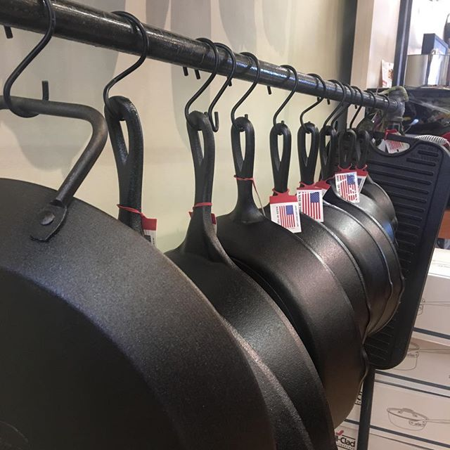 Who loves #castiron cooking!!?? Well, we do! All sizes of #lodgecastiron. Stop in to admire, and get some recipes and tips for cooking in cast iron. #castiron #berkshiresma #greatbarrington #thechefsshop